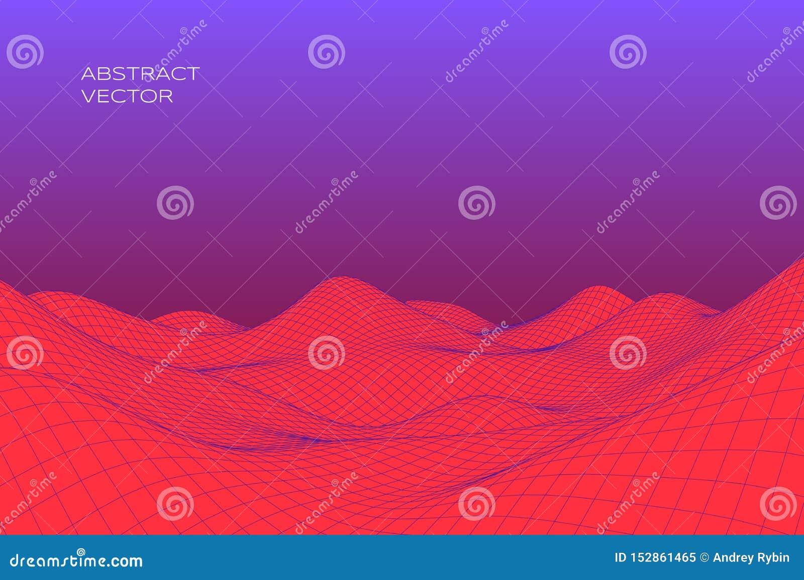 Abstract digitaal landschap met gradiënt Cyber of technologieachtergrond Vector illustratie