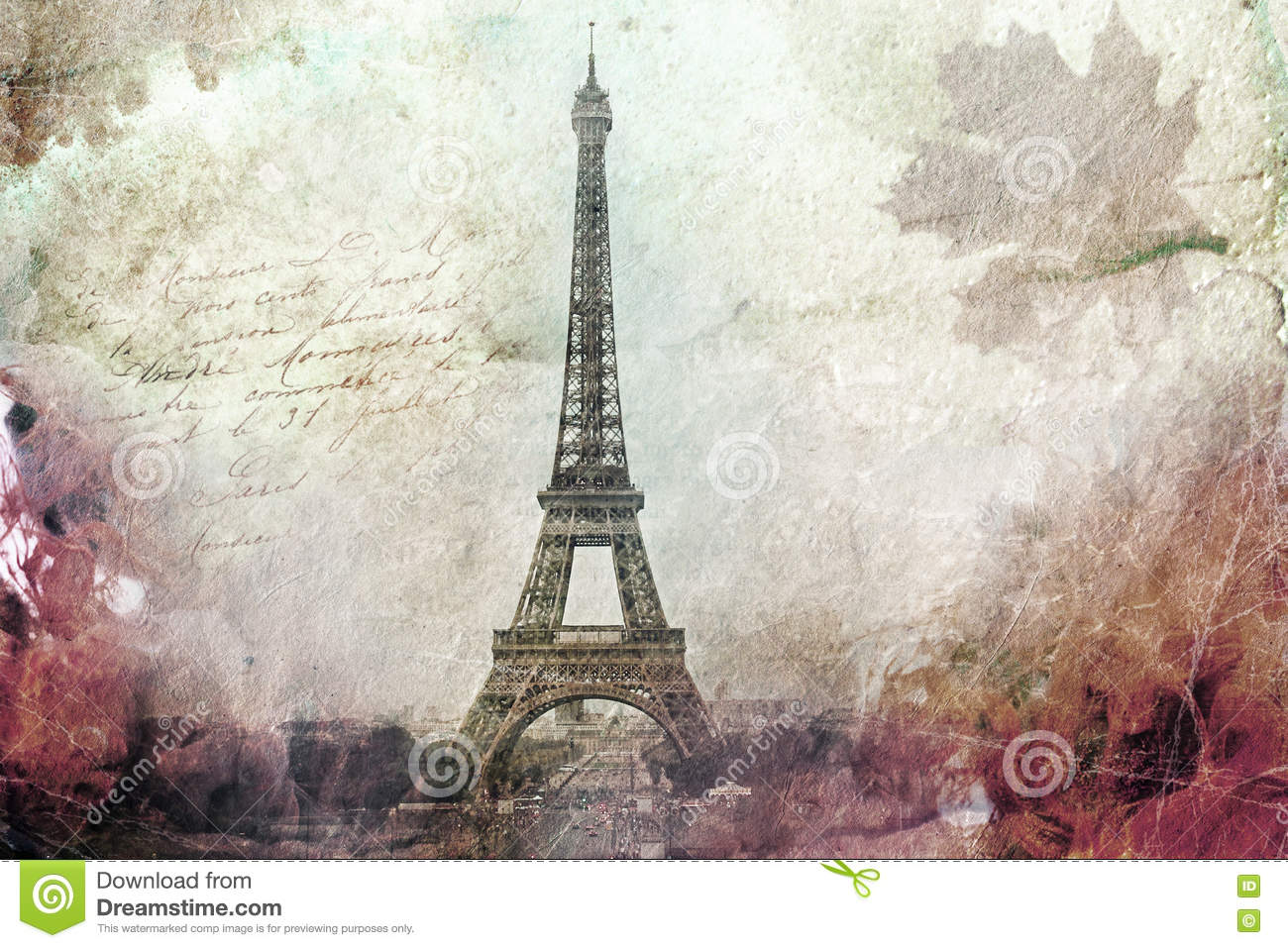 graphic regarding Printable Canvas named Summary Electronic Artwork Of Eiffel Tower In just Paris, Inexperienced. Aged