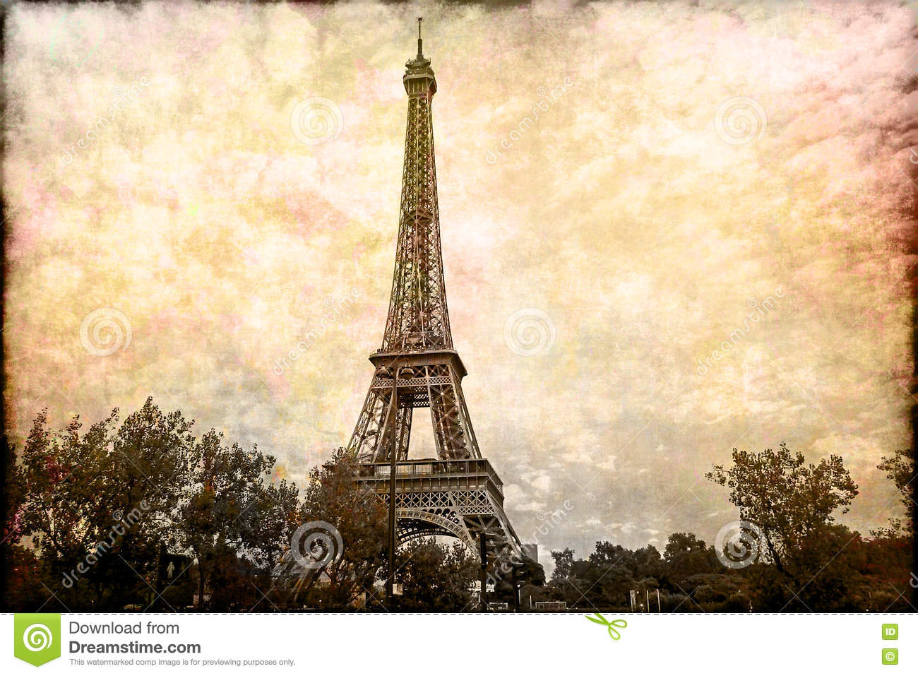 photo relating to Printable Pictures of the Eiffel Tower known as Summary Electronic Artwork Of Eiffel Tower Within just Paris. Aged Paper