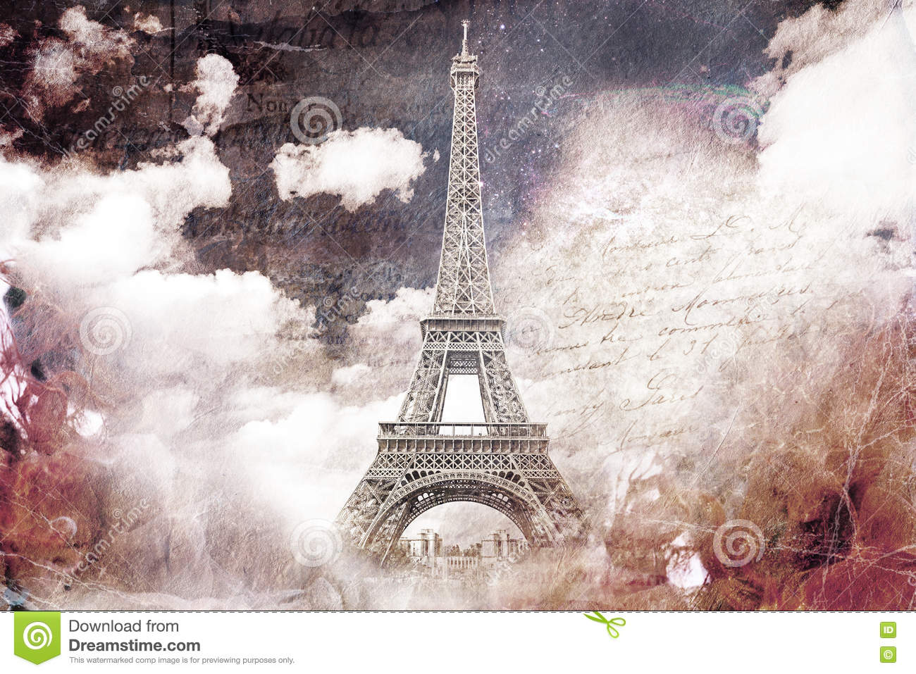 photograph relating to Printable Eiffel Tower named Summary Electronic Artwork Of Eiffel Tower Inside Paris. Aged Paper