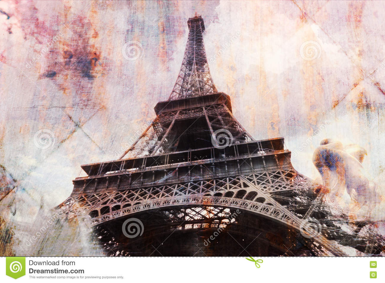 Abstract Digital Art Of Eiffel Tower In Paris, Tile