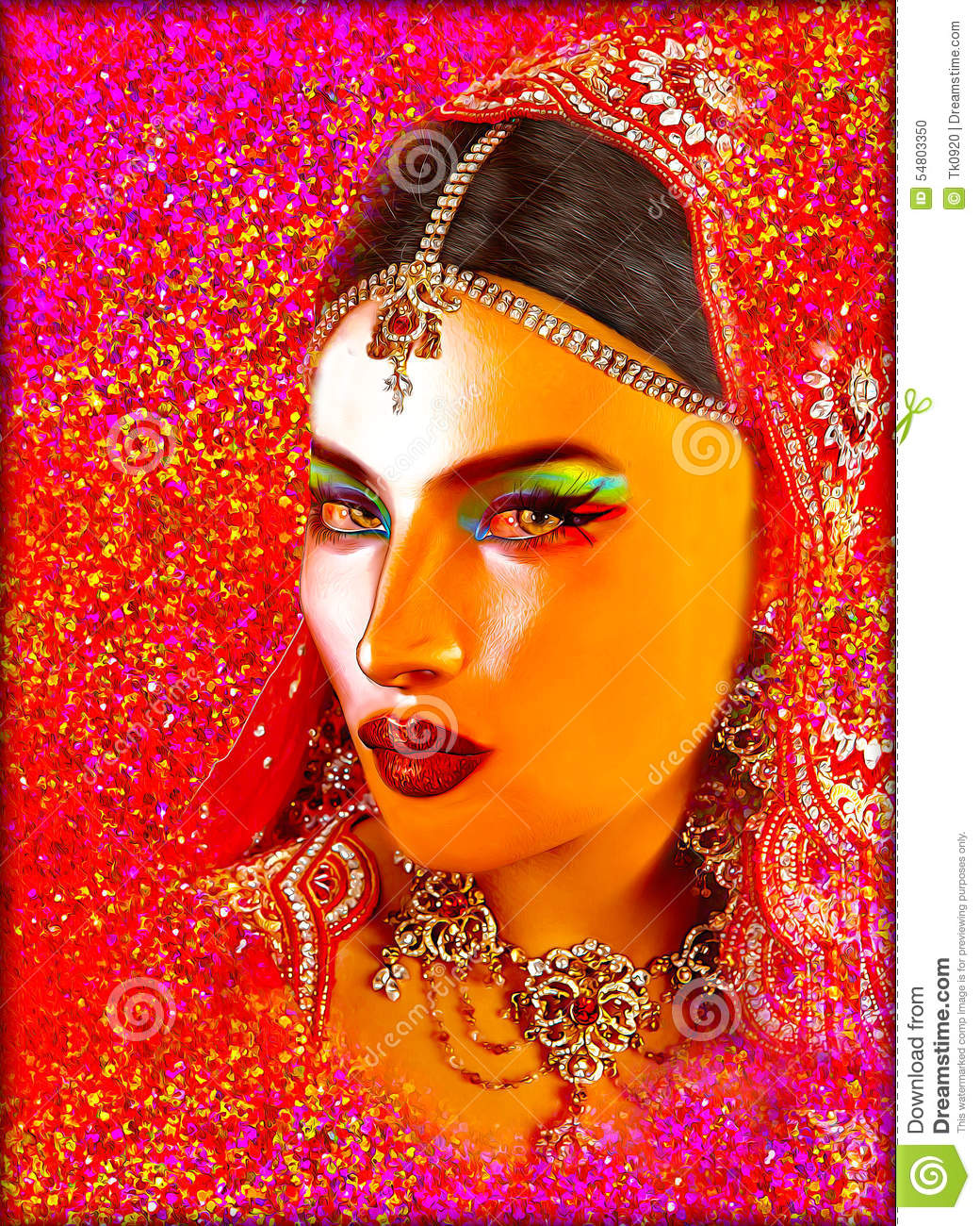 Abstract Digital Art Of Indian Or Asian Woman's Face ...