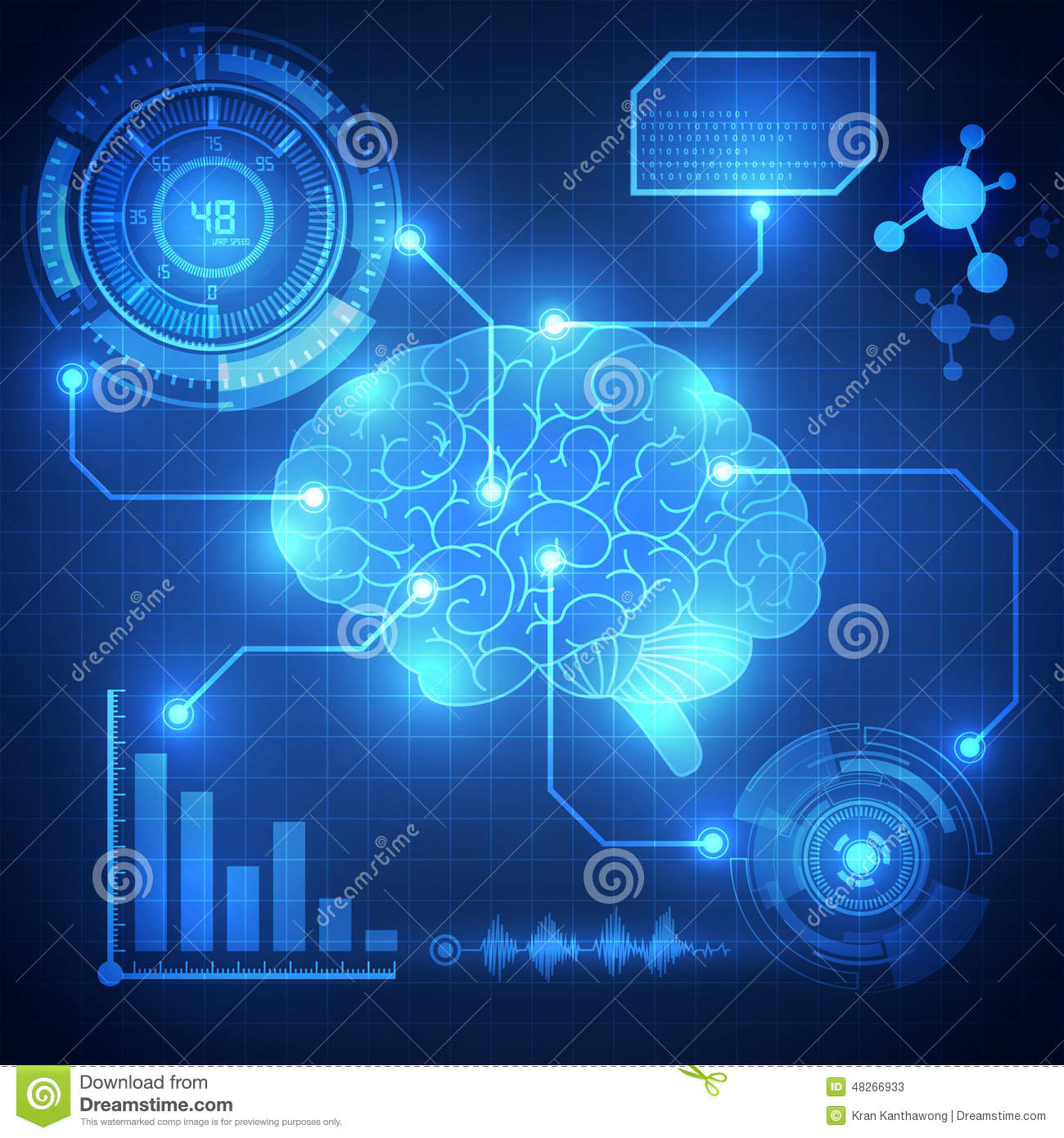 Abstract Digital Brain,technology Concept Background ...