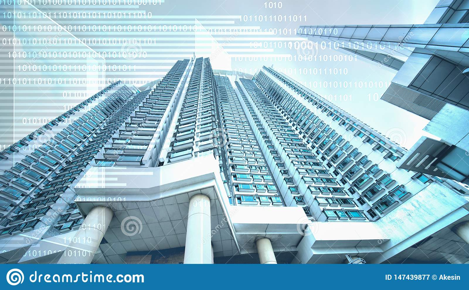 Abstract digital business background of digital sign overlay with skyscraper in concept of real estate business with digital
