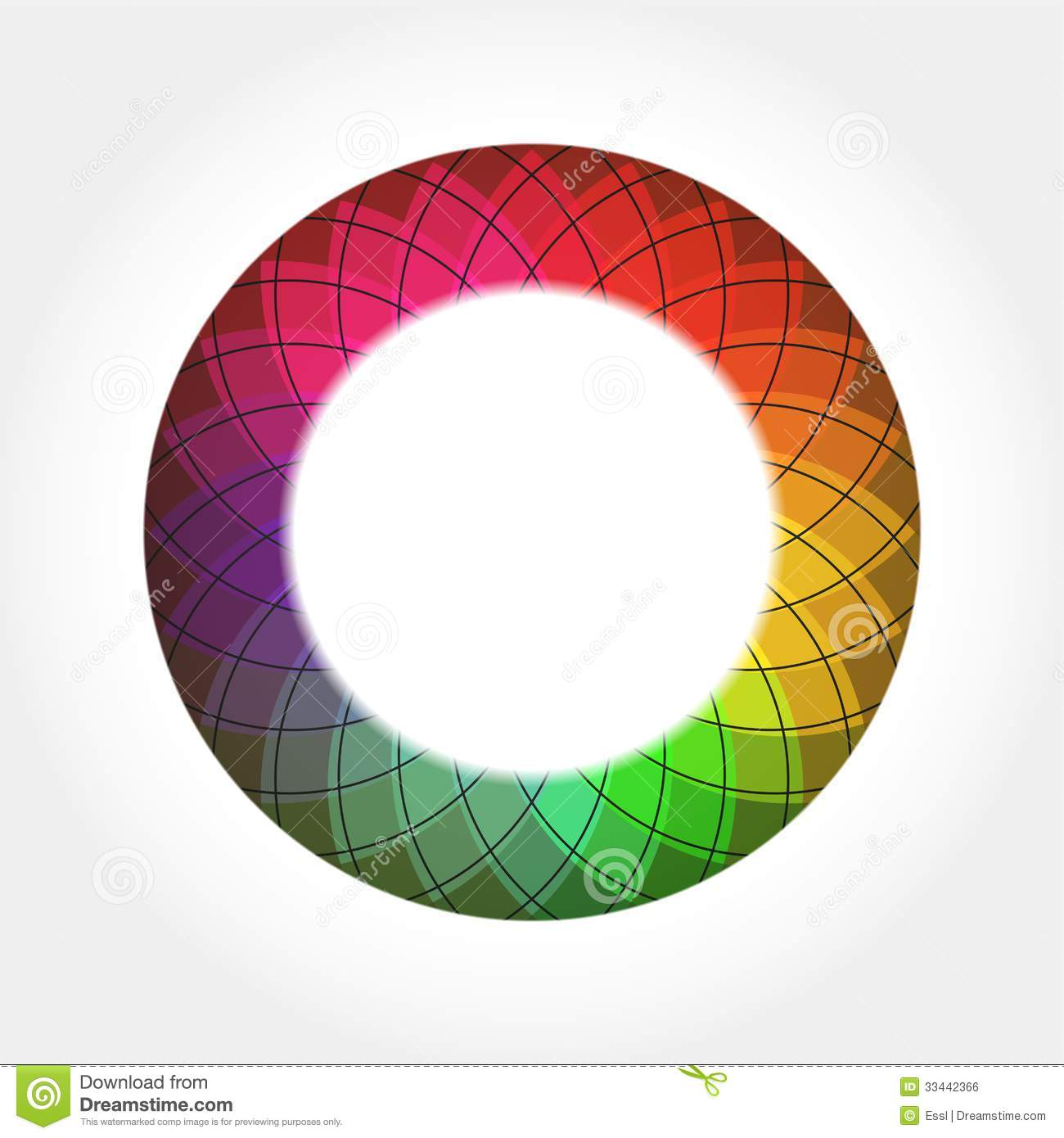 Abstract Digital Color Round Frame Stock Vector Image