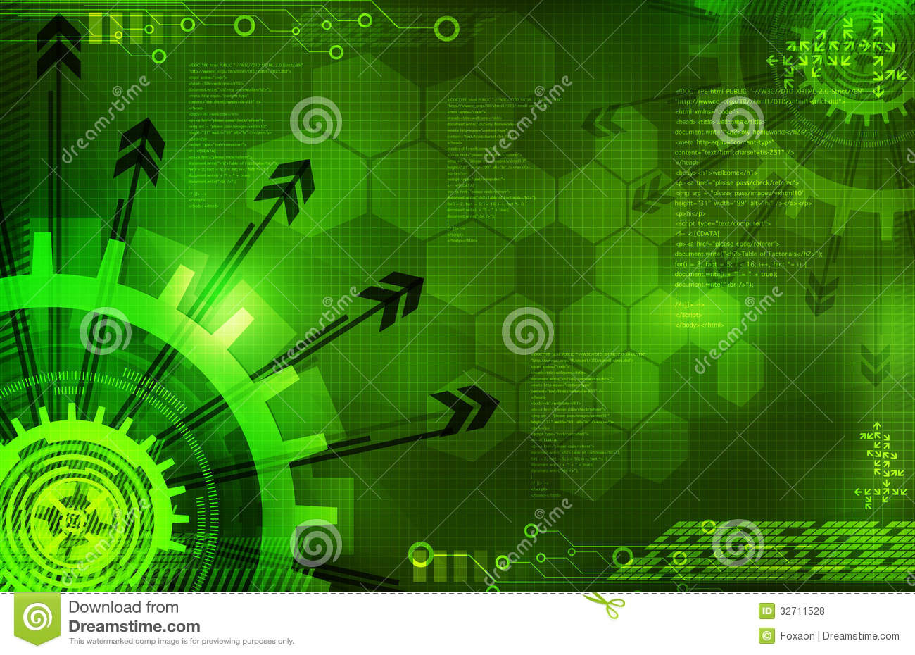 Blue Technology Abstract Background: Abstract Digital Green Background With Arrows Royalty Free