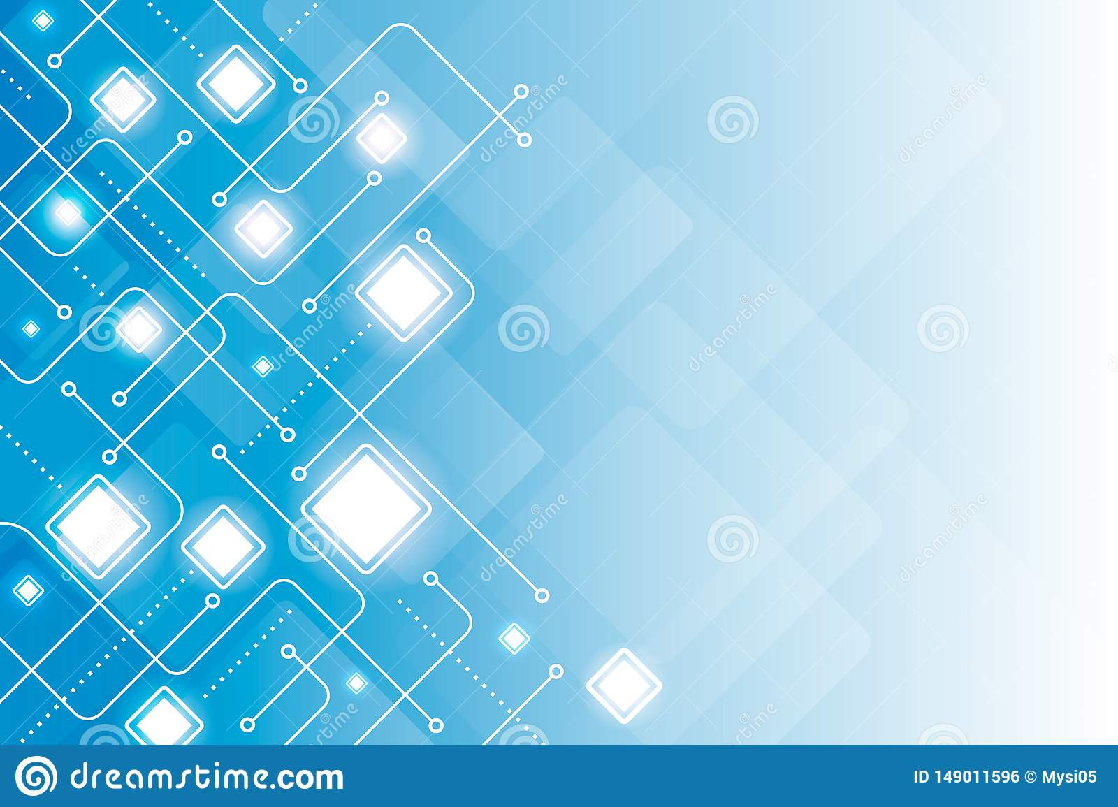 Abstract digital line geometric blue background vector