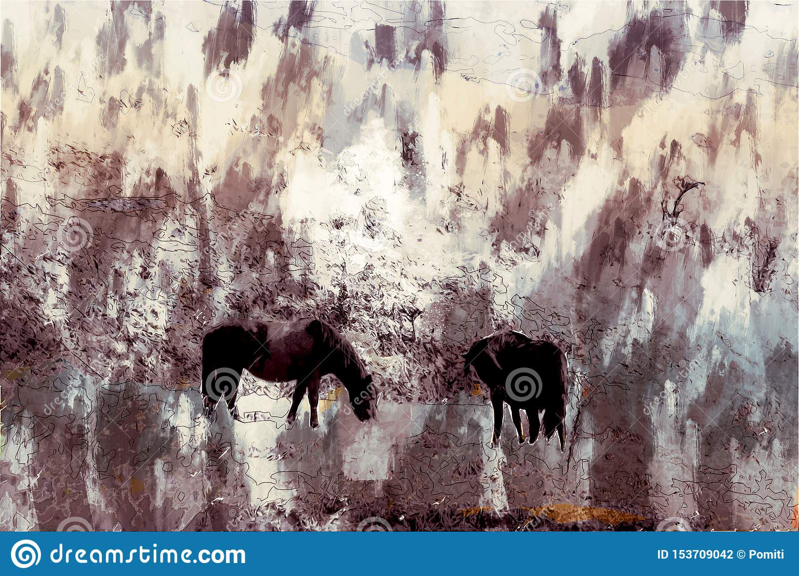 Abstract Digital Painting Of Horses In Farm Stock Photo Image Of Walking Abstract 153709042