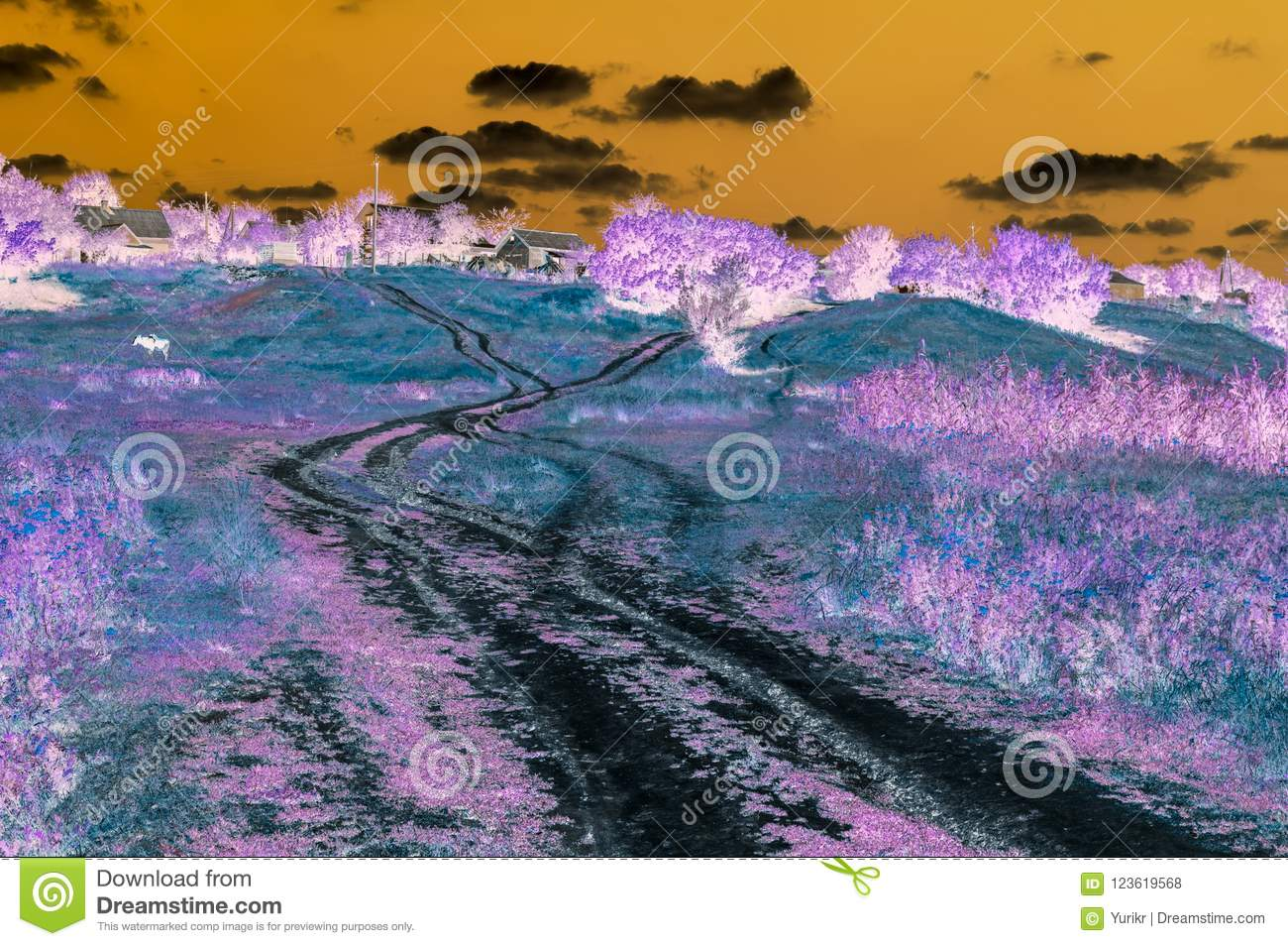 Abstract digital picture of landscape with country road leading to houses on the hill