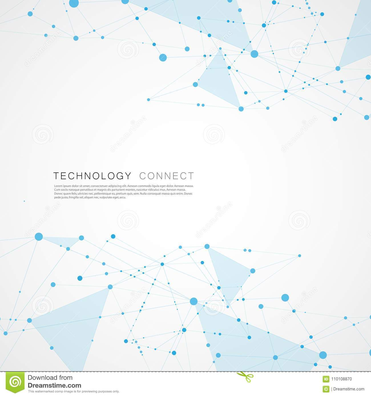 Abstract digital poly mesh background design. Connect geometric polygonal structure with lines and dots