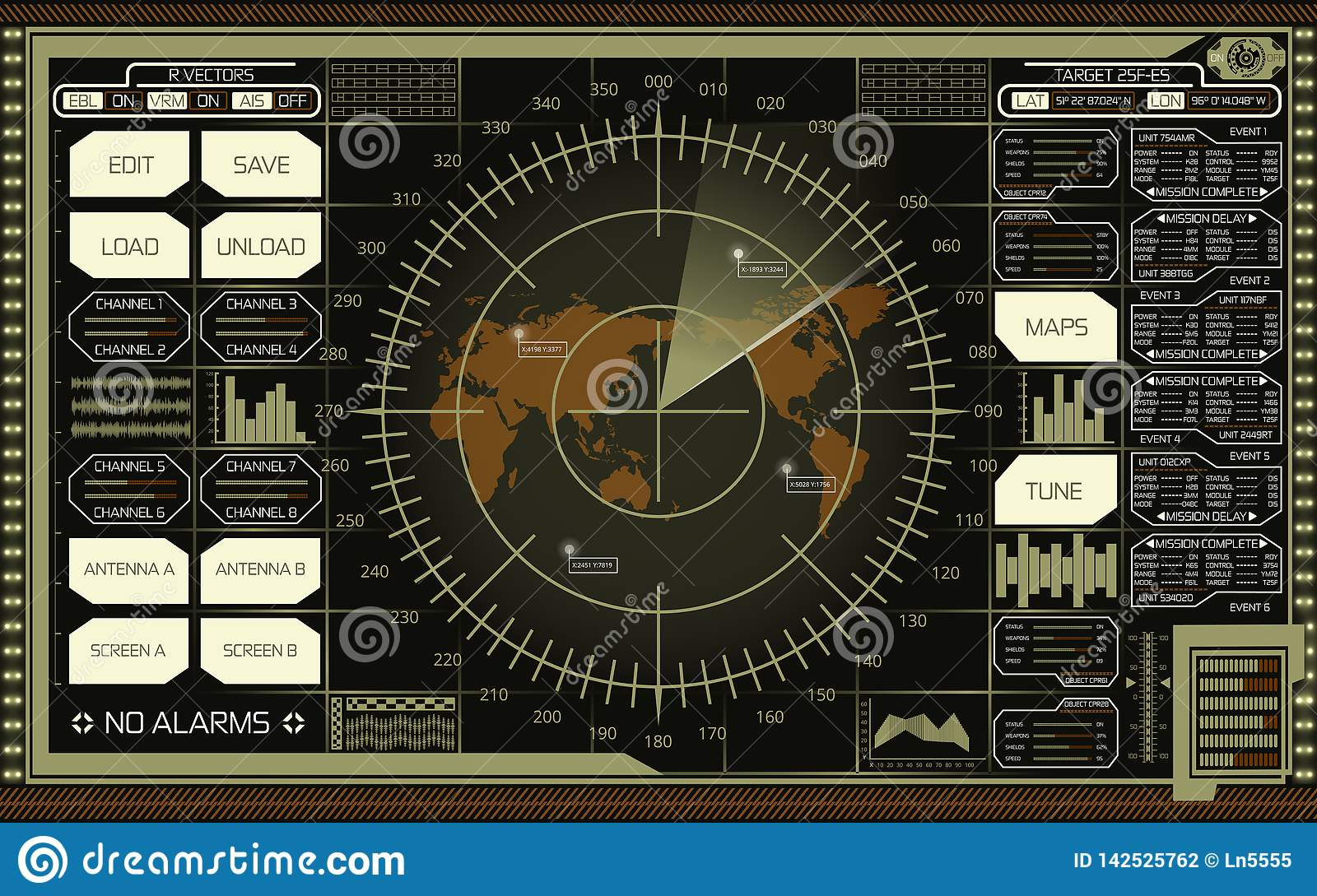 Digital radar screen with world map, targets and futuristic user interface of green, white and brown shades on dark background