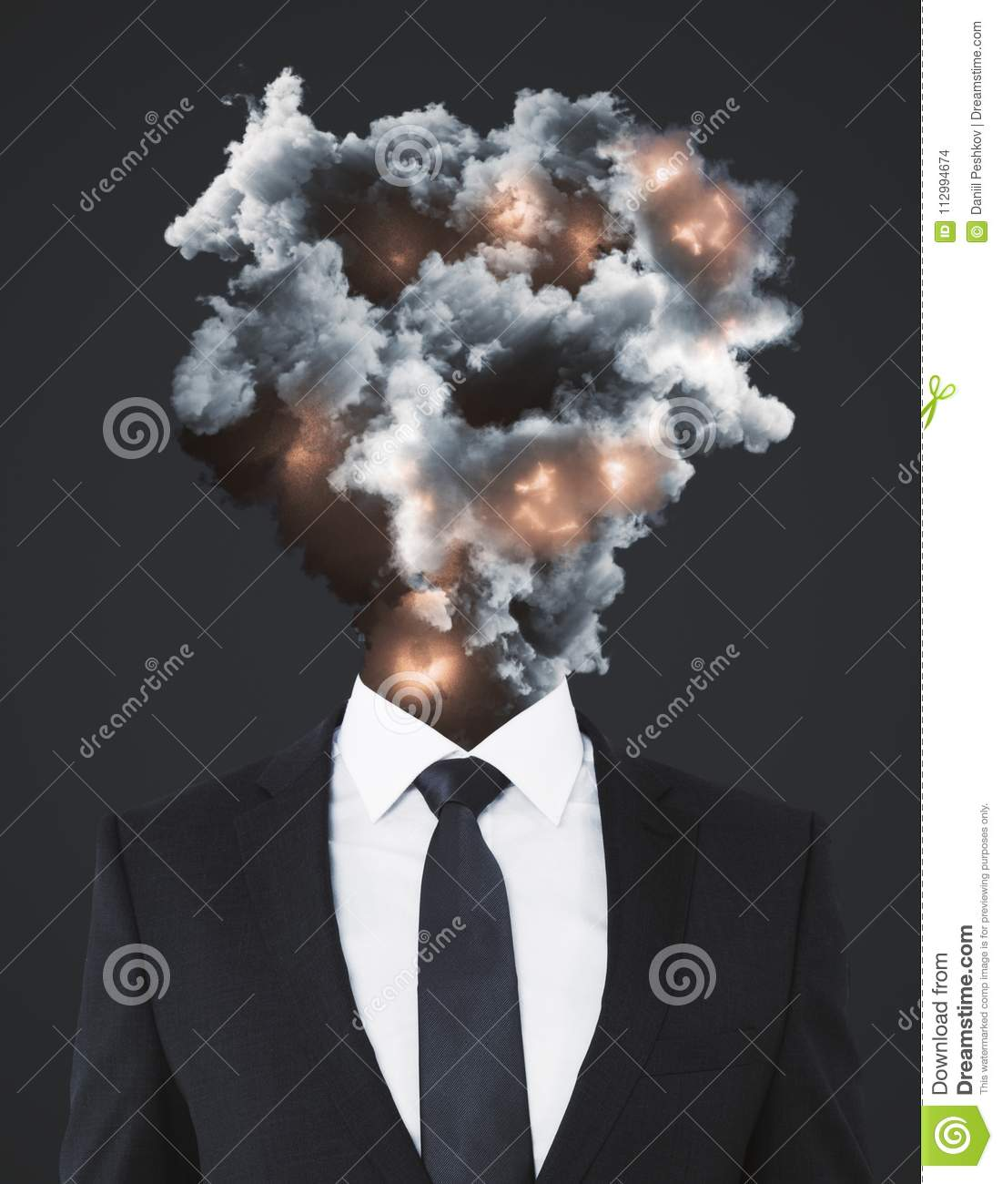 Man with abstract explosion smoke and fire head standing on dark wallpaper. Disaster and stress concept