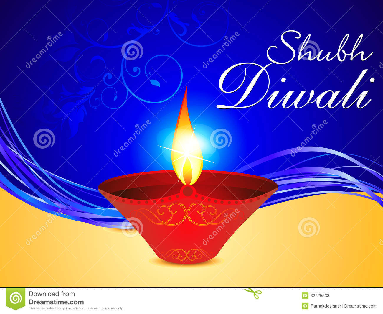 Abstract Diwali Background With Deepak Stock Vector ...  Abstract Diwali...