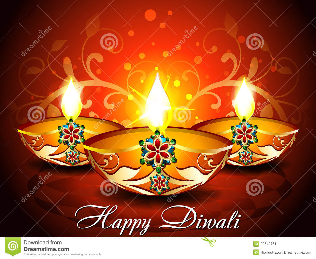 Abstract Diwali Background With Floral Stock Vector Illustration