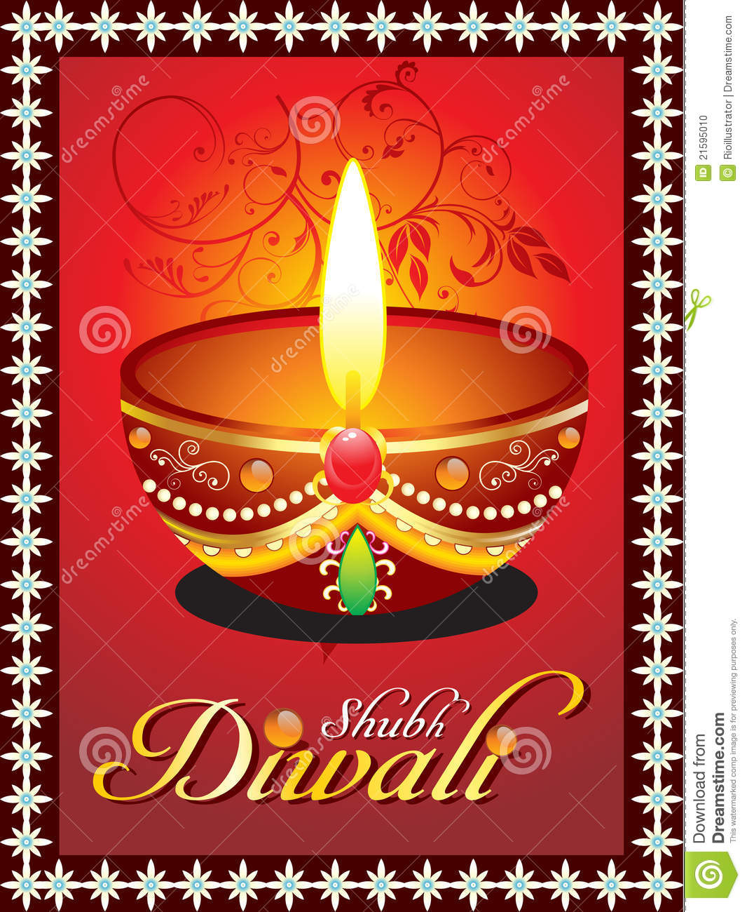 Abstract diwali greeting card with floral stock vector abstract diwali greeting card with floral kristyandbryce Images
