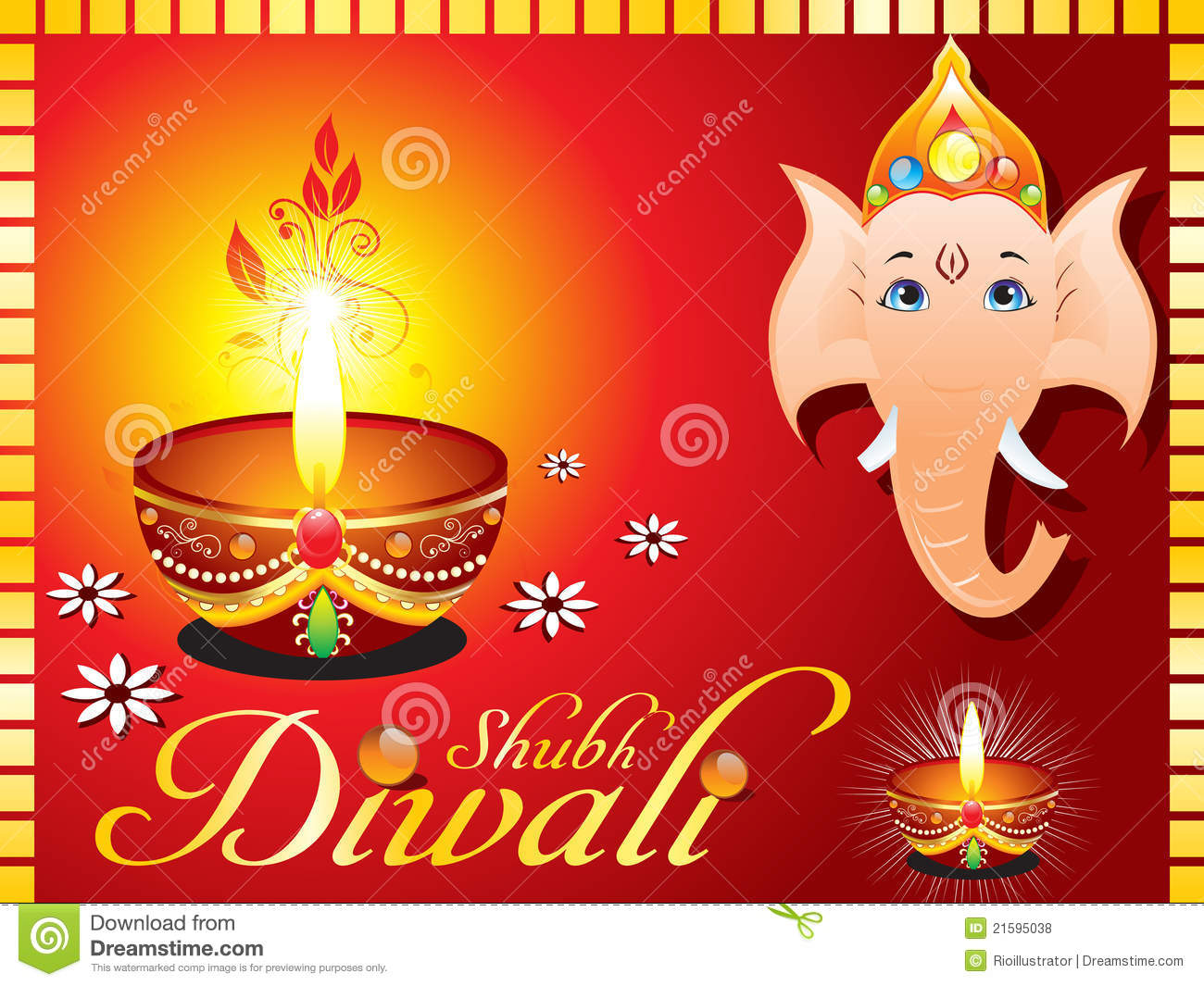 Abstract Diwali Greeting Card With Ganesh Ji Illustration 21595038