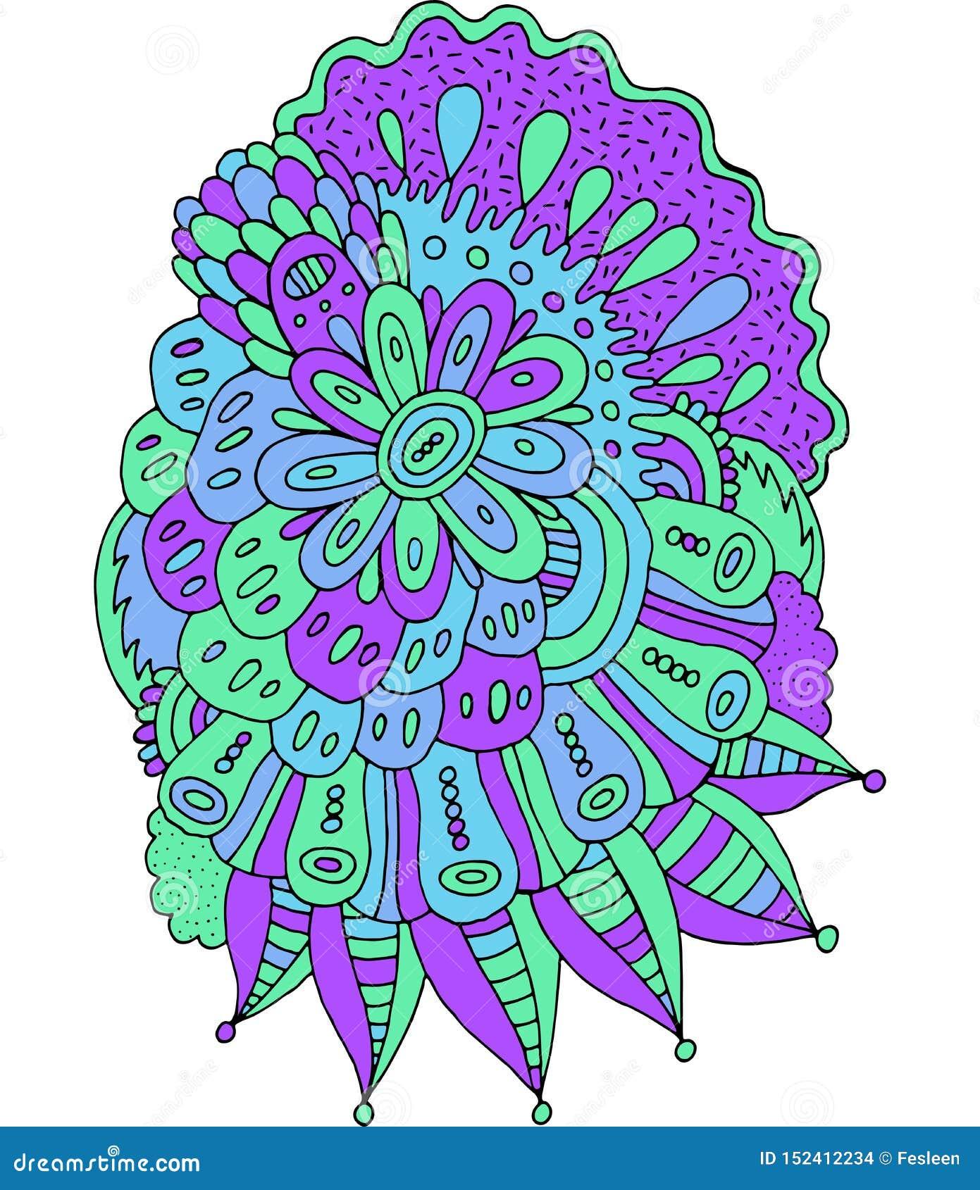 Abstract Doodle Floral Mandala Art Hand Drawn Cartoon Boho