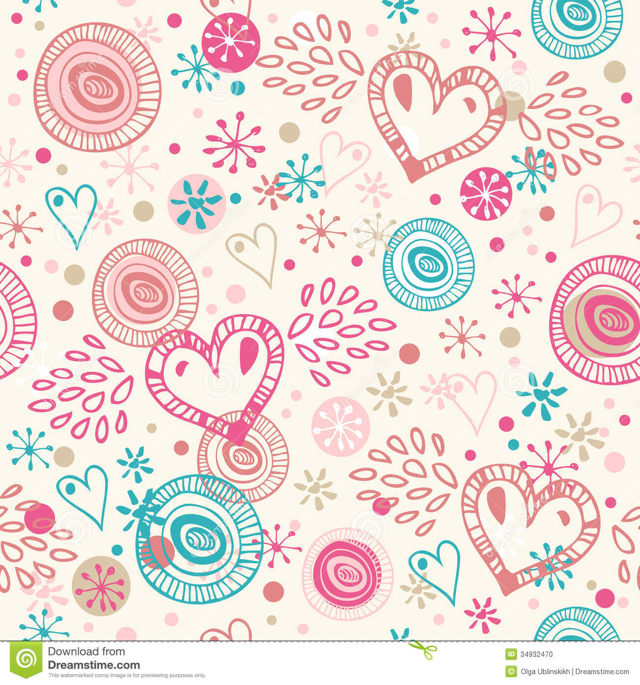 Abstract Doodle Seamless Background With Hearts. Romantic ...