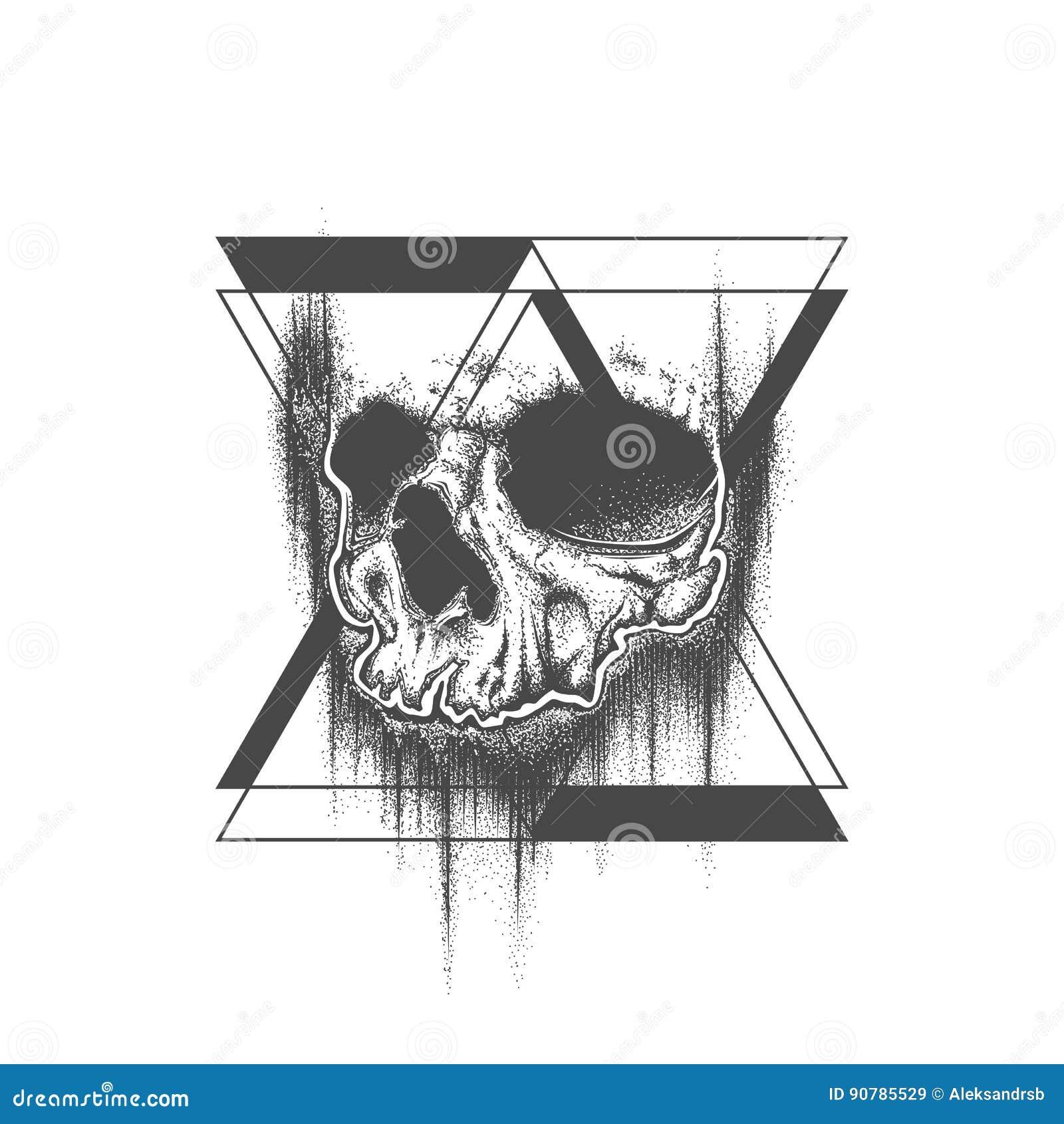 Abstract Dot Work Grunge Skull Tattoo Design Stock Vector