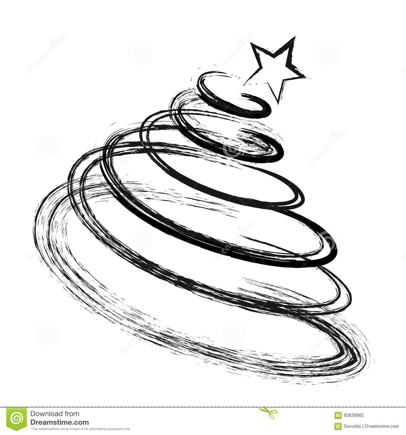 Christmas tree drawing black and white - Abstract Drawing Christmas Fir Tree Black Silhouette With Sketch