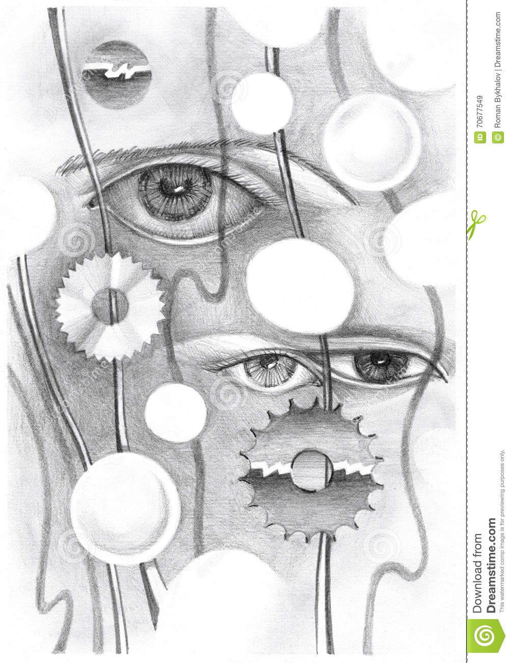 Abstract Drawing Of The Eye And Objects Stock Illustration