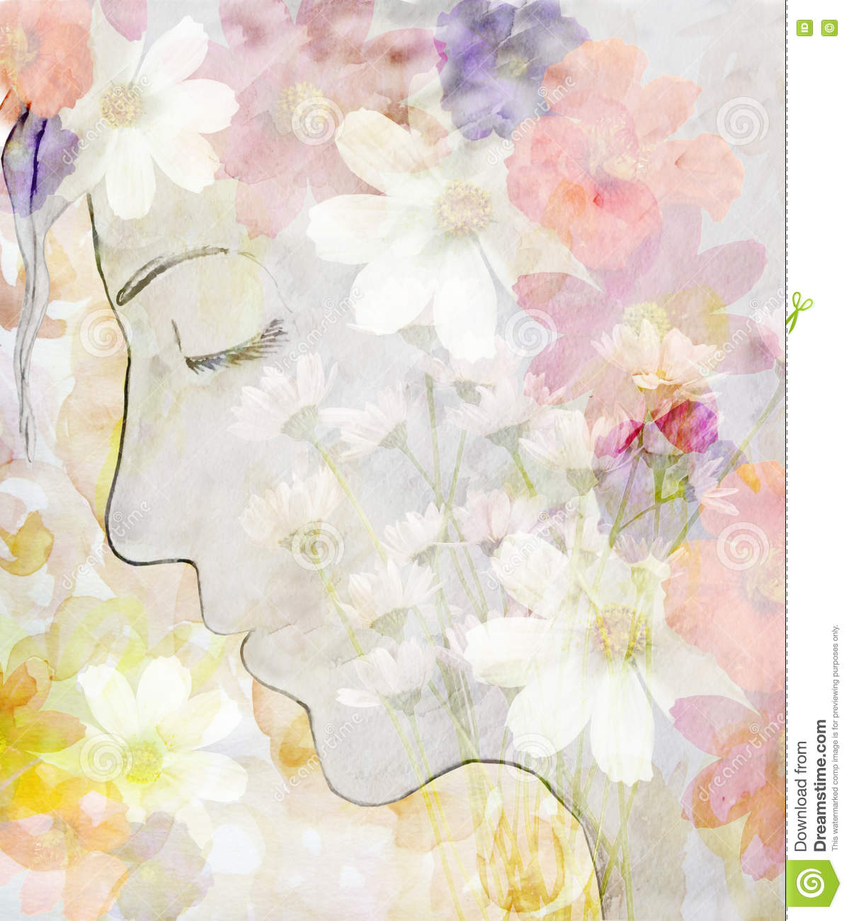 Abstract drawing a girl face profile watercolor stock illustration abstract drawing a girl face profile watercolor in beautiful flowers izmirmasajfo