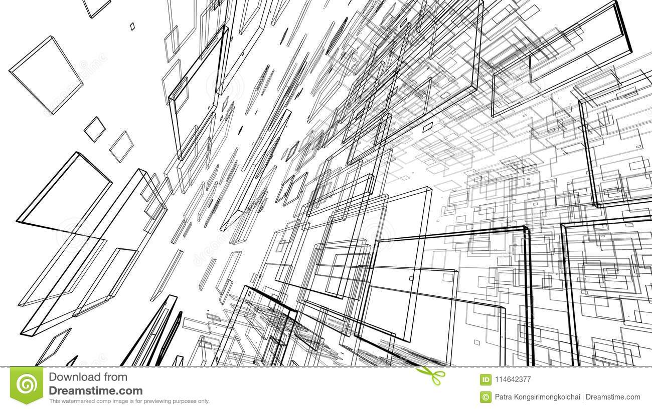 Drawing Lines With D : Abstract drawing lines in architectural art concept on