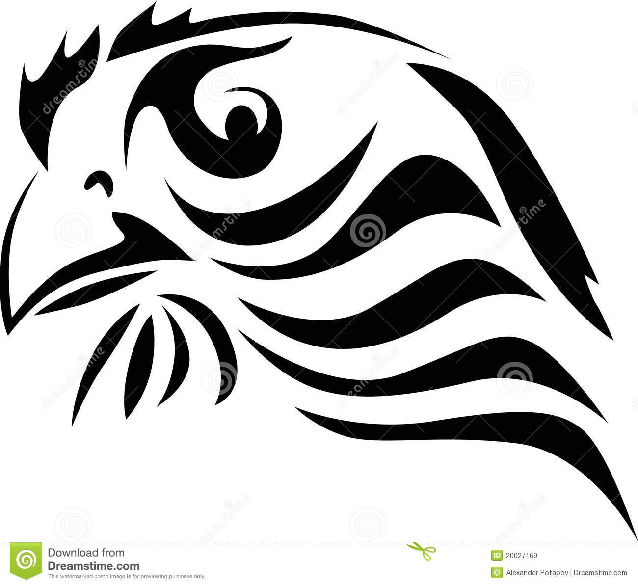 Abstract Eagle Portrait On Whit Stock Vector