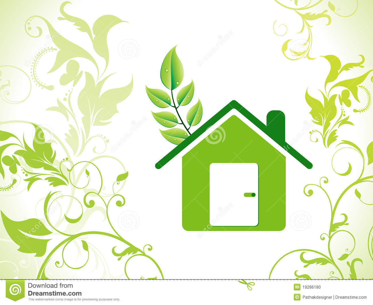 Abstract Eco Green Home Background Stock Vector Image