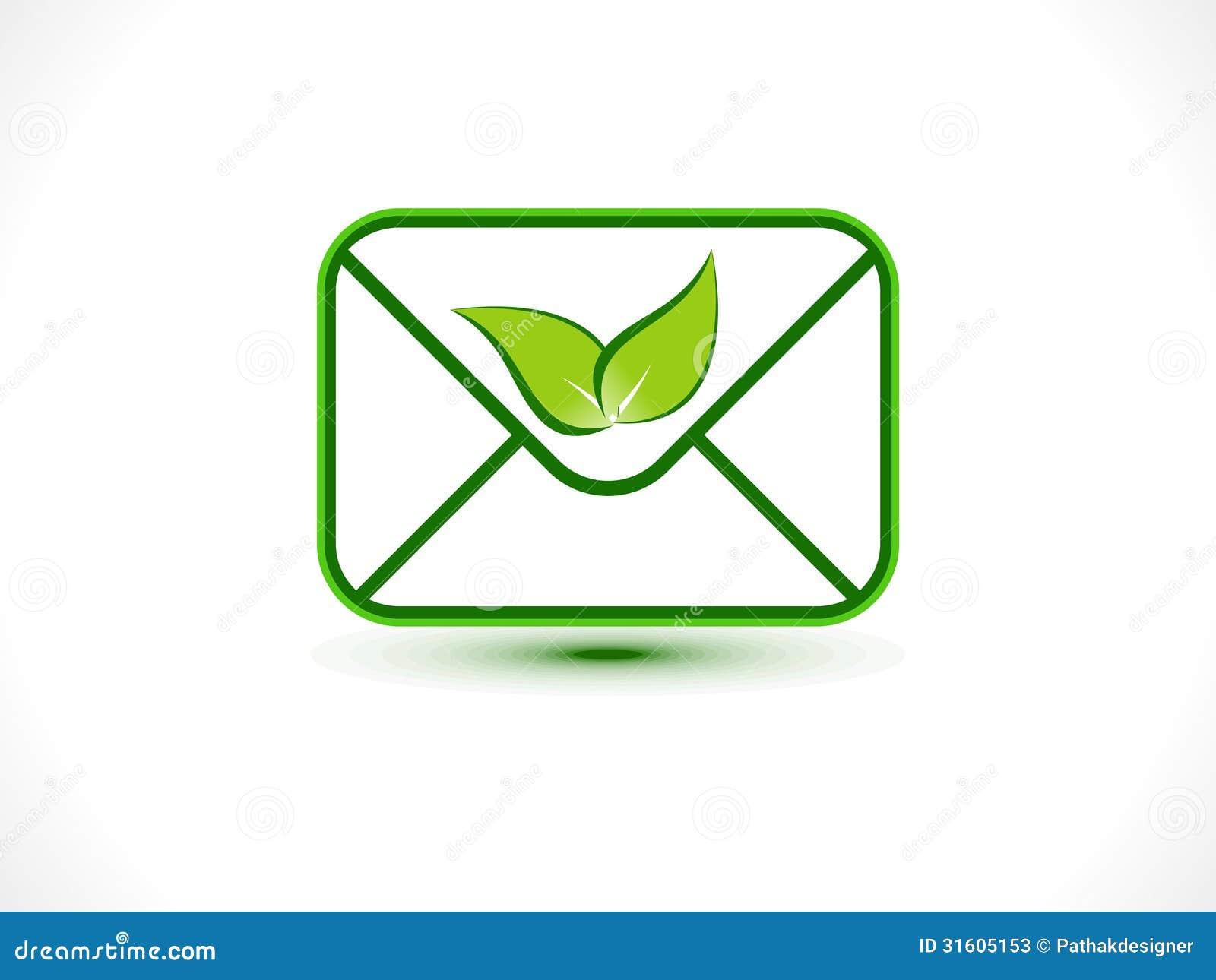 Скачать Eco Technology Flat Icons: Abstract Eco Mail Icon Stock Photos