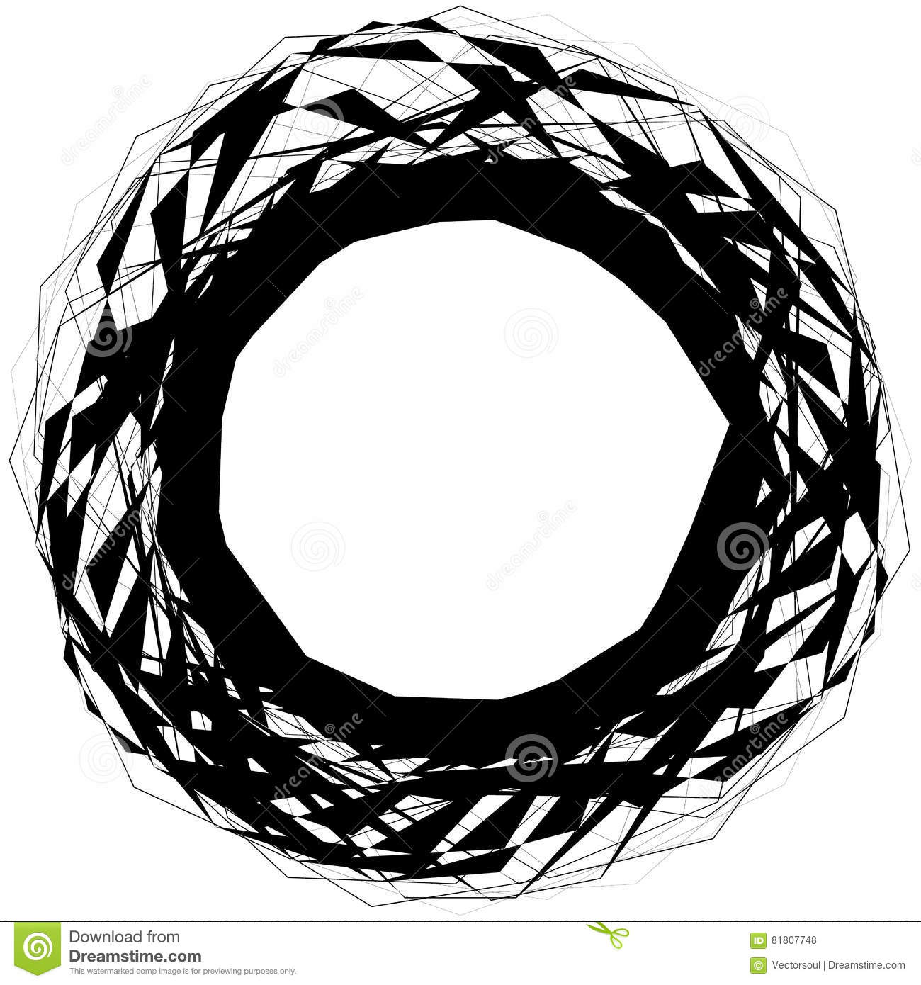Abstract edgy circular shape, element isolated on white. Random