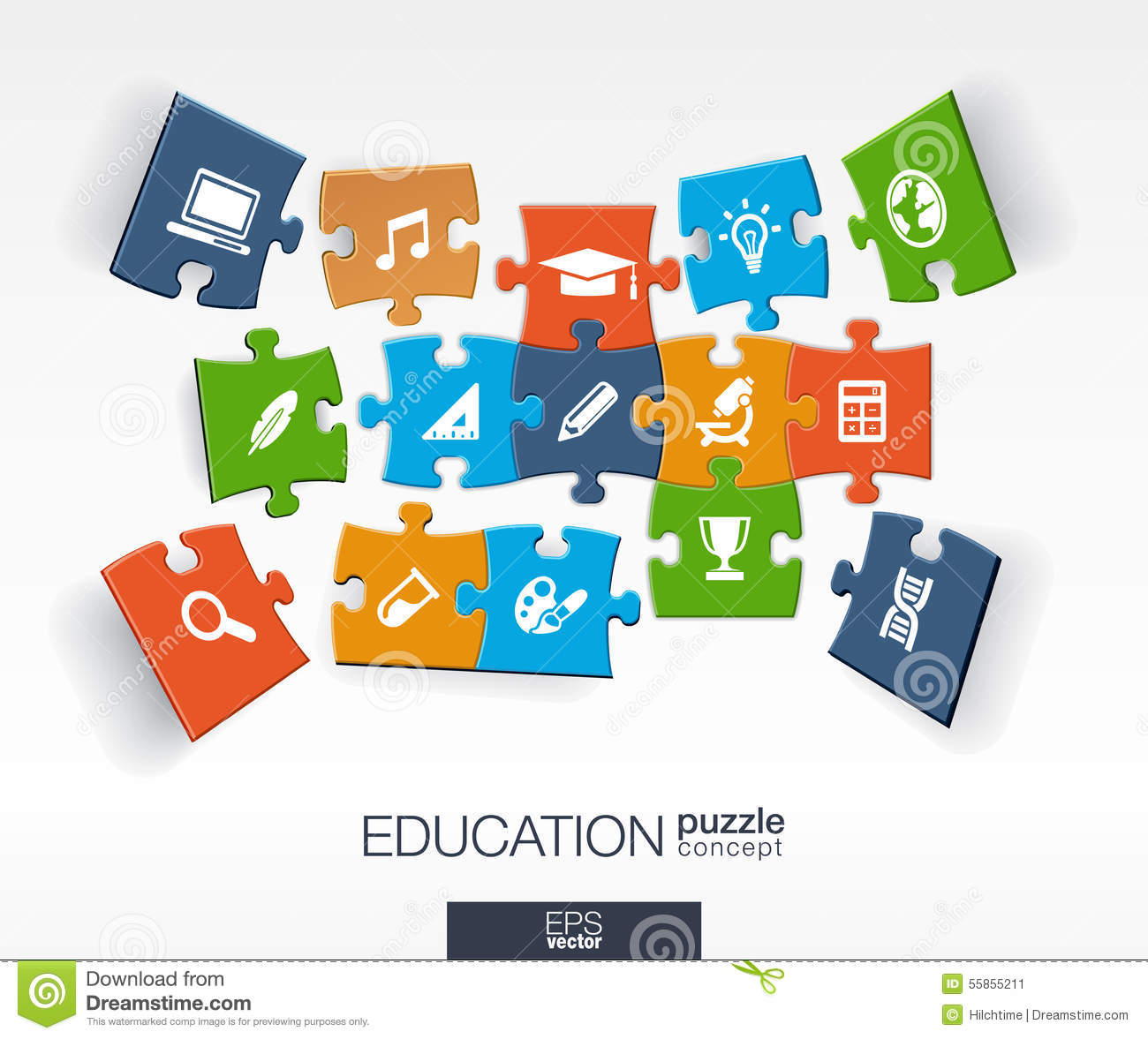 Abstract education background, connected color puzzles, integrated flat icons. 3d infographic concept with school, science