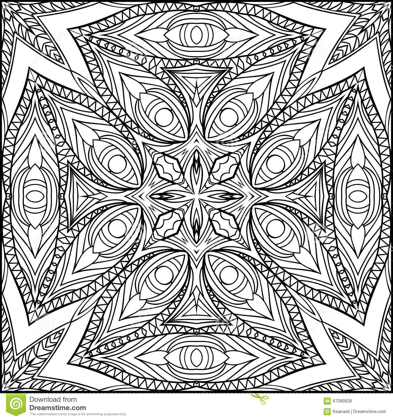 Abstract Cross Coloring Pages : Abstract egyptian cross zentangle style black and white