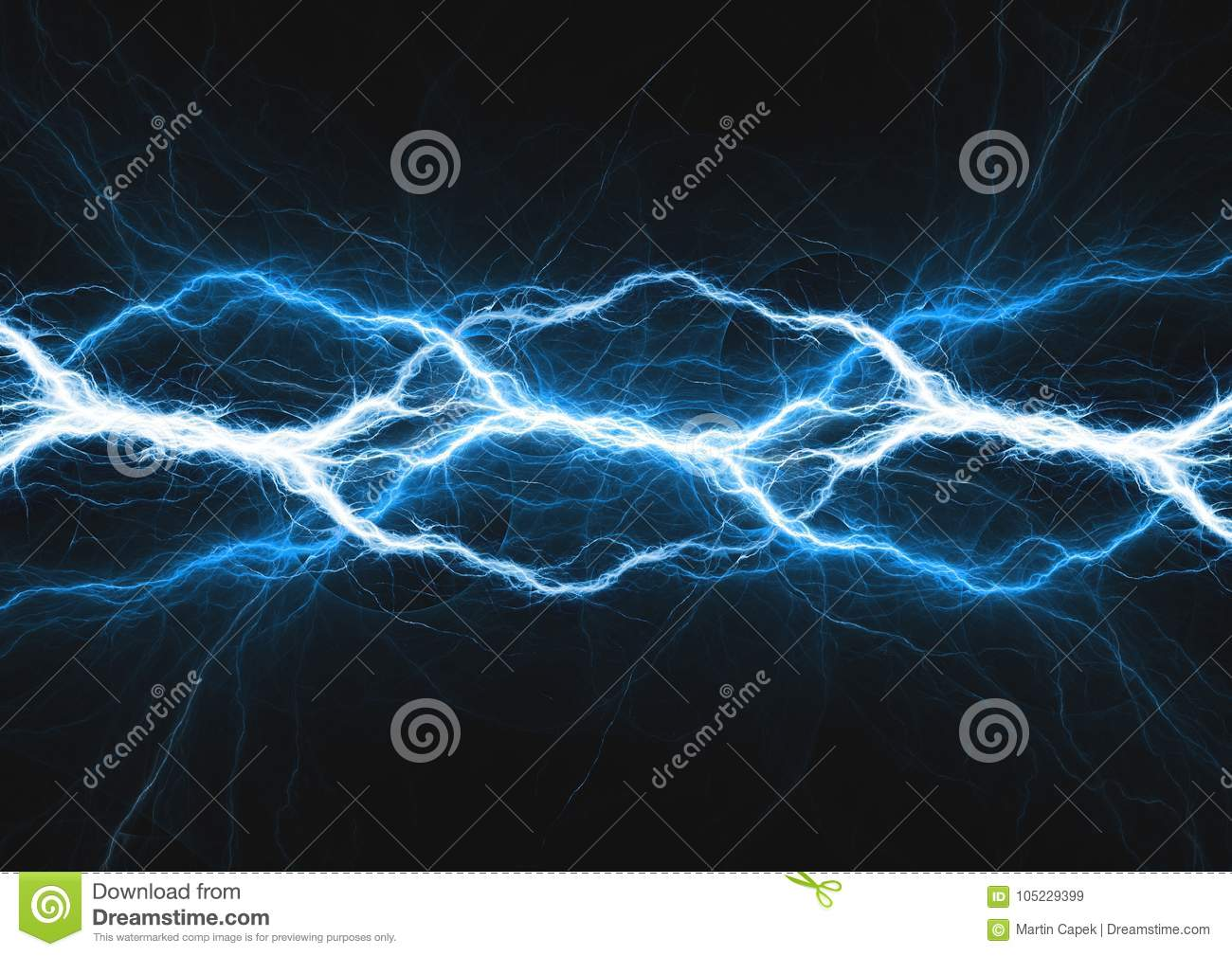 Abstract Electrical Background, Blue Plasma Stock Illustration