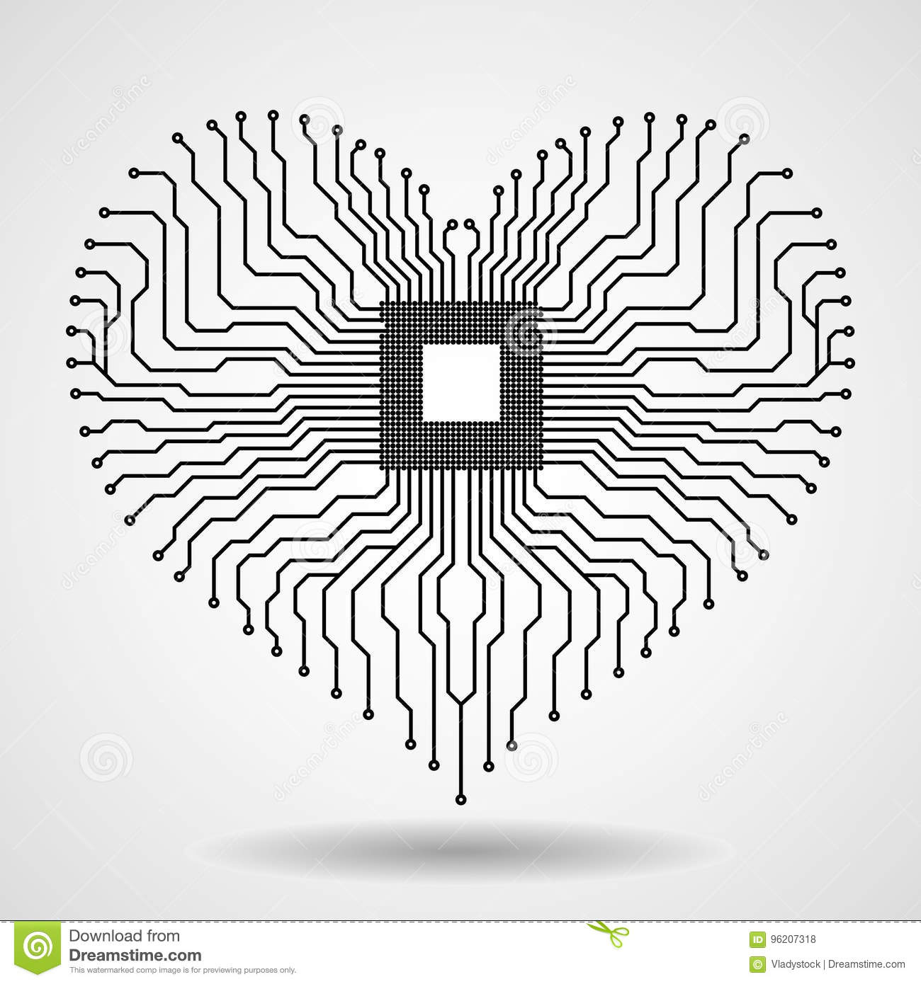 Abstract Electronic Circuit Board In Shape Of Heart Stock Vector Printed Red Electrical Symbol