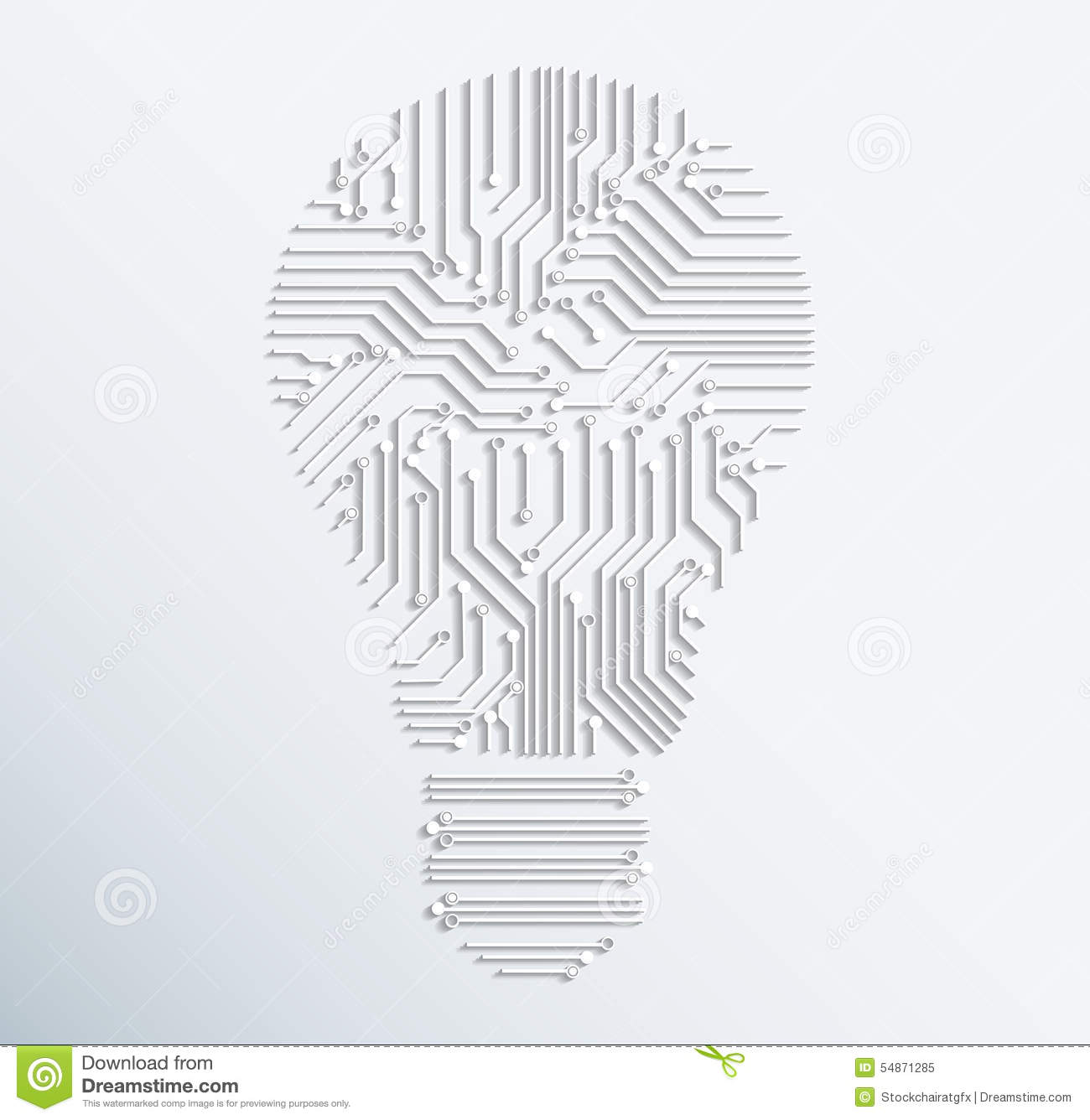 Abstract Electronic Computer Circuit Board Light Bulb Icon.vecto