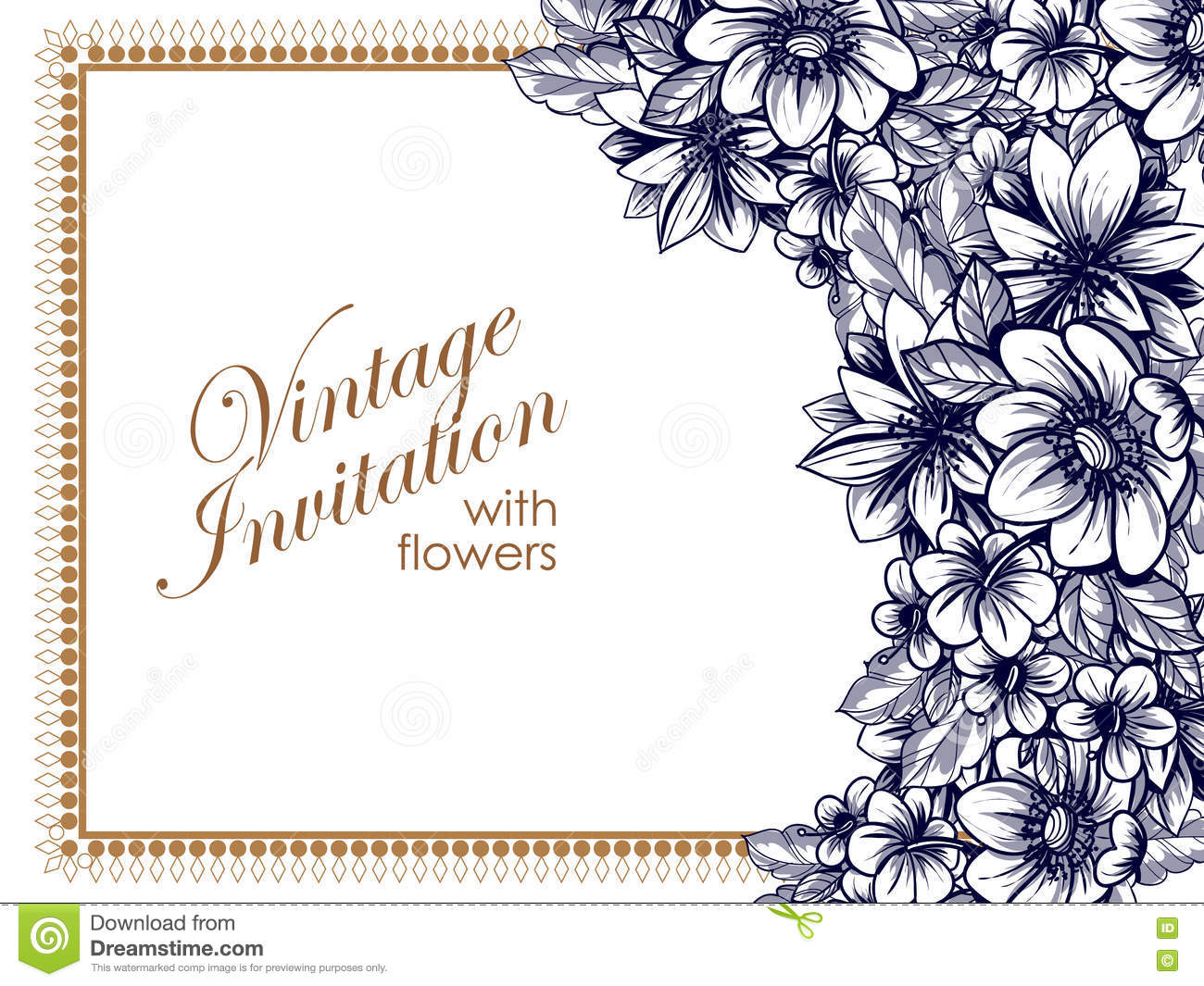 Abstract elegance invitation with floral background