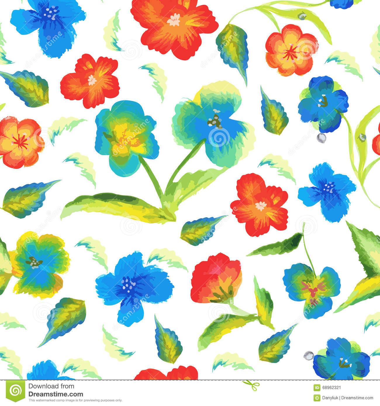 Abstract Elegance Spring Seamless Pattern With Watercolour
