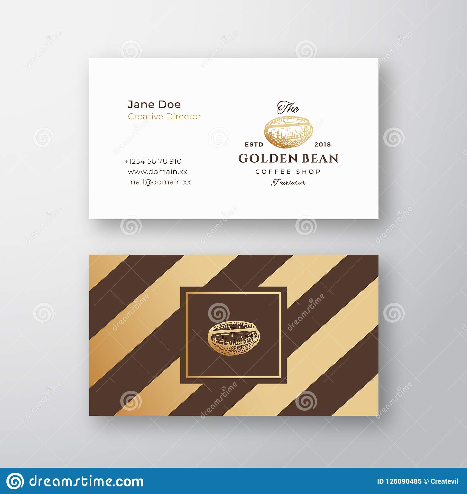 Abstract Elegant Vector Coffee Logo And Business Card Template With Coffee Business Card Template Free