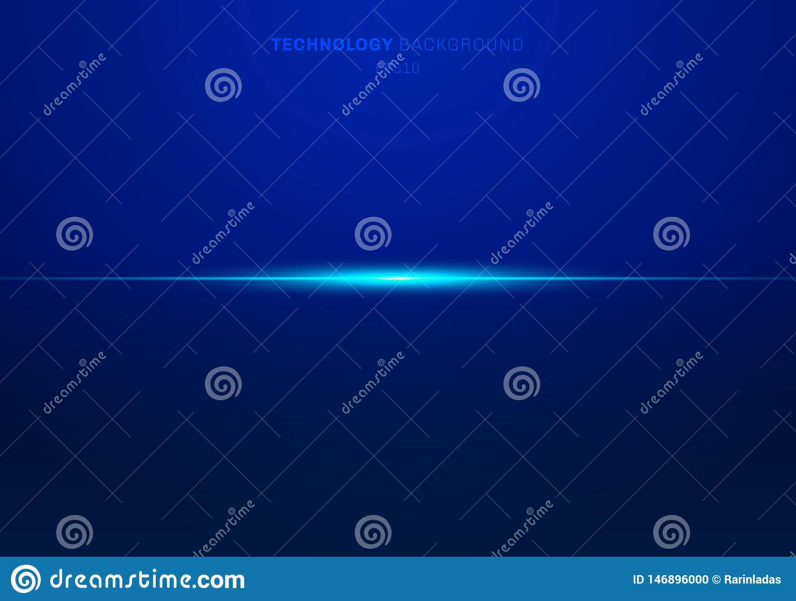 Abstract elements blue light laser lines horizontal on dark background. Technology style