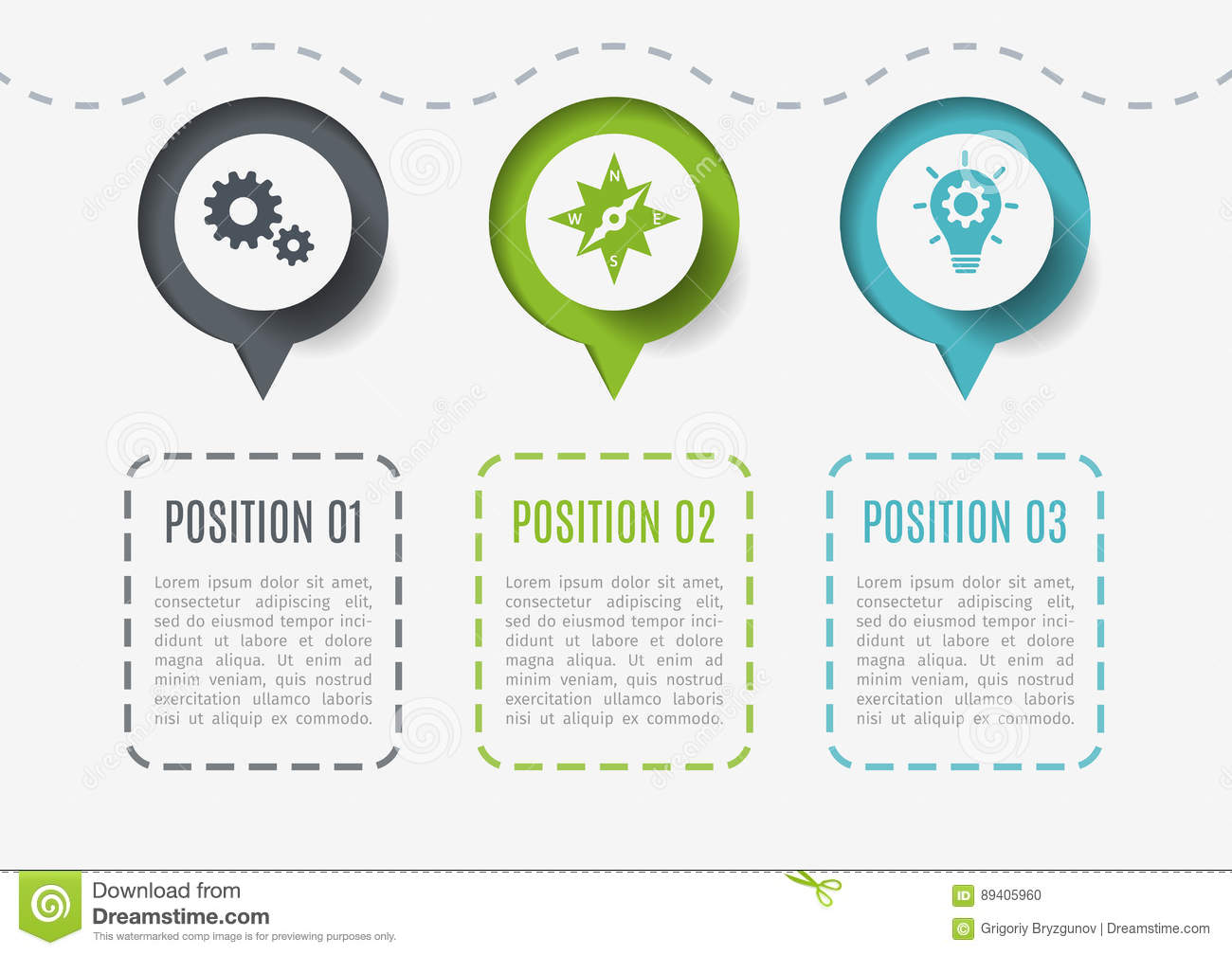 abstract elements of graph, diagram with 3 steps, options or parts   creative concept