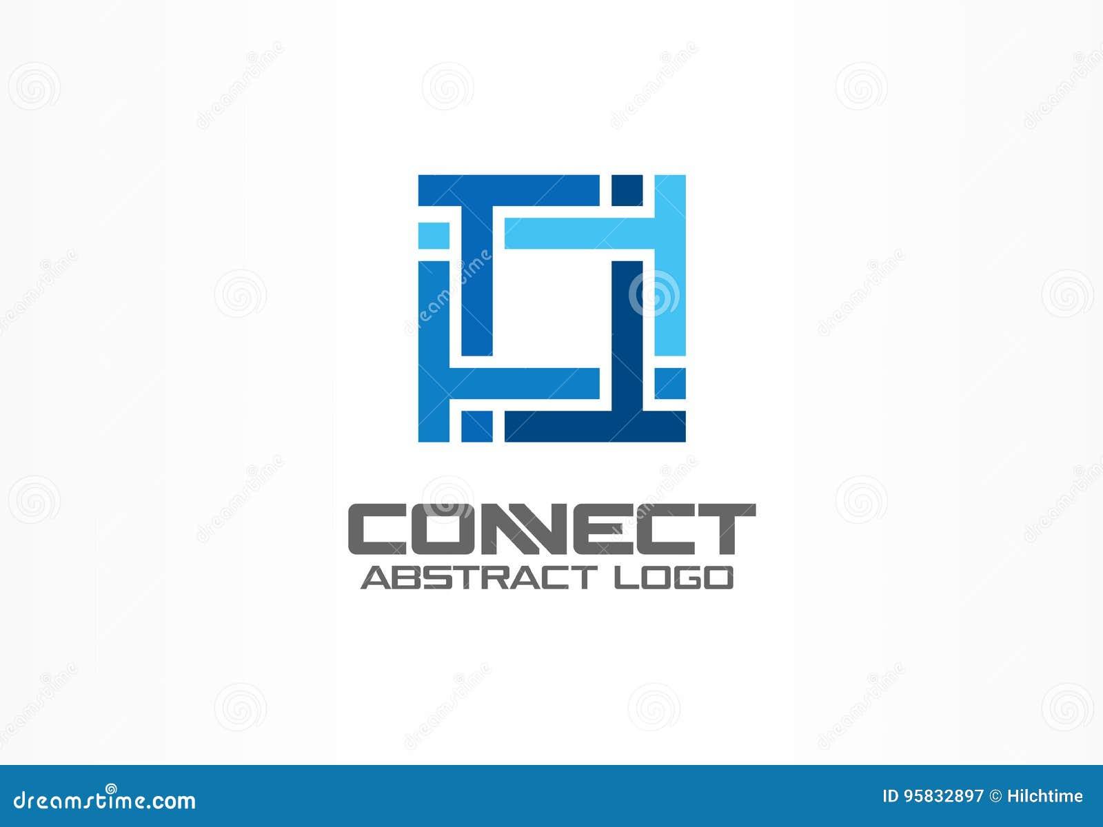 Abstract embleem voor bedrijf Industrie, financiën, bank logotype idee De vierkante groep, netwerk integreert, technologie
