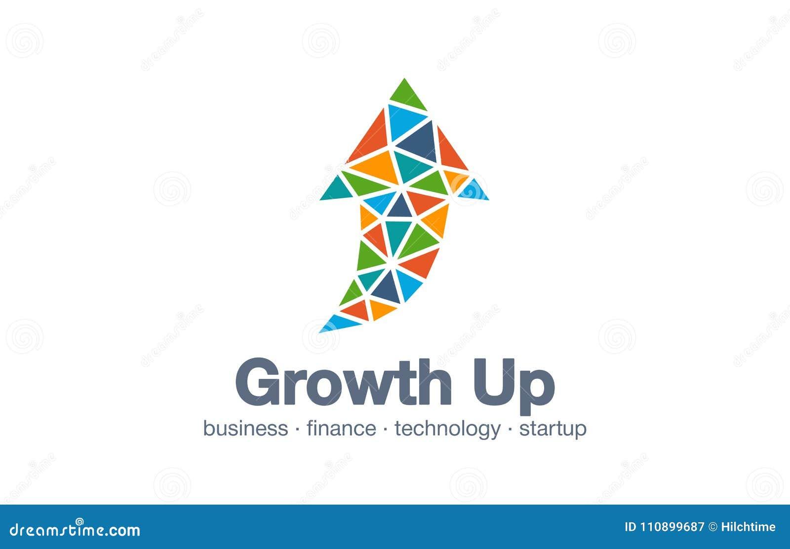 Abstract embleem voor bedrijf Technologie, Industrieel, markt logotype idee Pijl omhoog, de groeigrafiek, vooruitgangsgrafiek