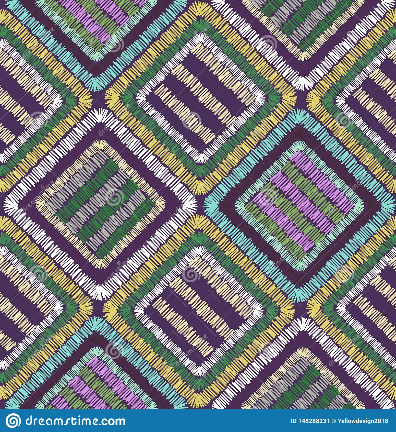 Abstract embroidery shapes geometric seamless pattern illustration