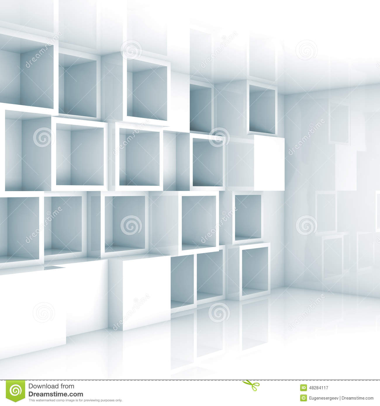 Abstract Empty 3d Interior White Empty Cube Shelves On