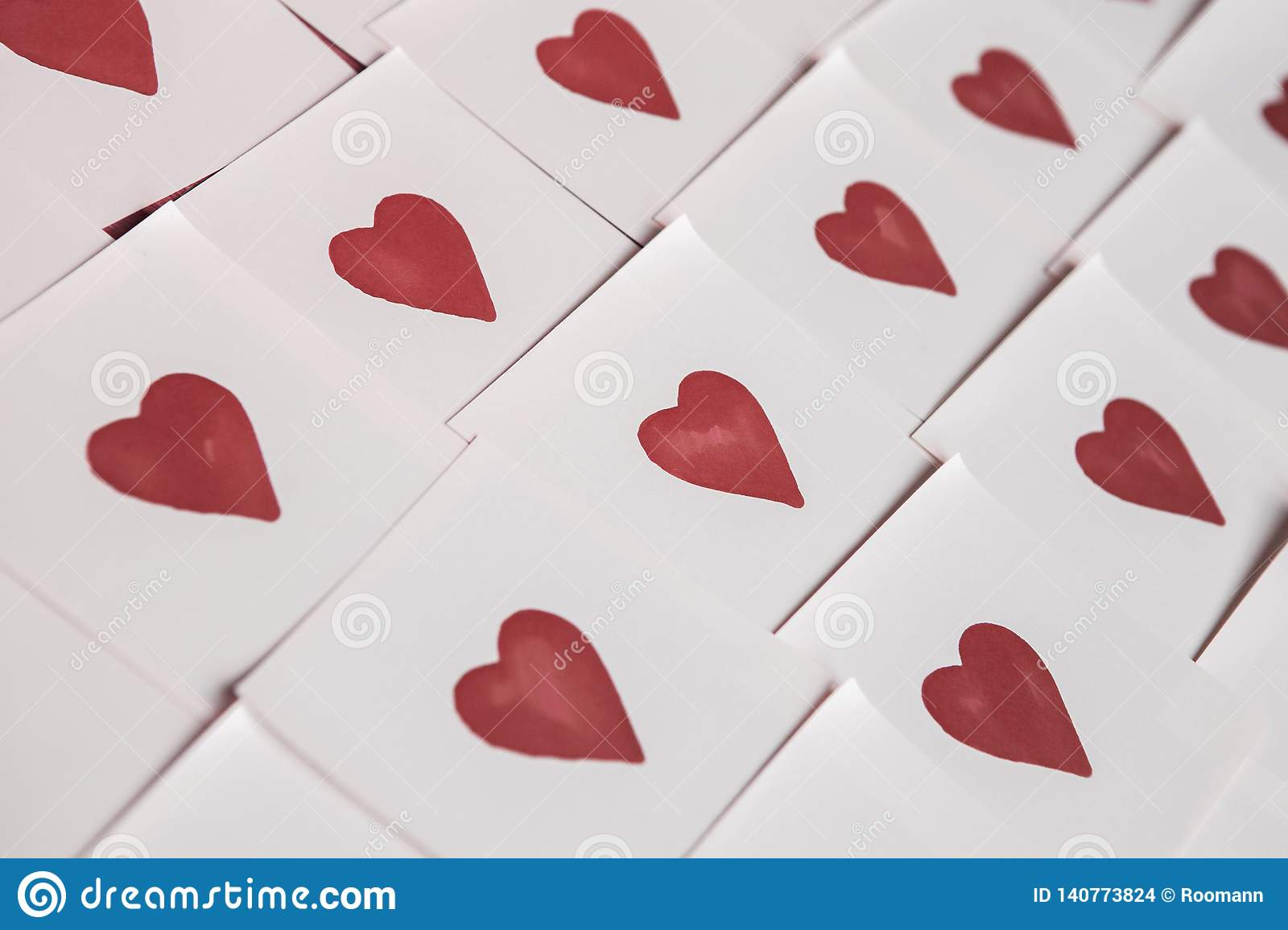 Abstract empty sticky note with heart. Valentine greeting card message.