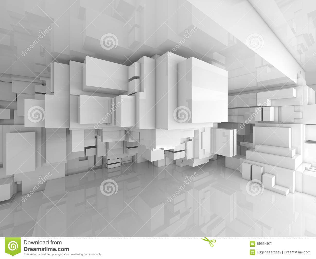 Abstract Empty White High Tech Room 3d Interior Stock Illustration Image 59554971
