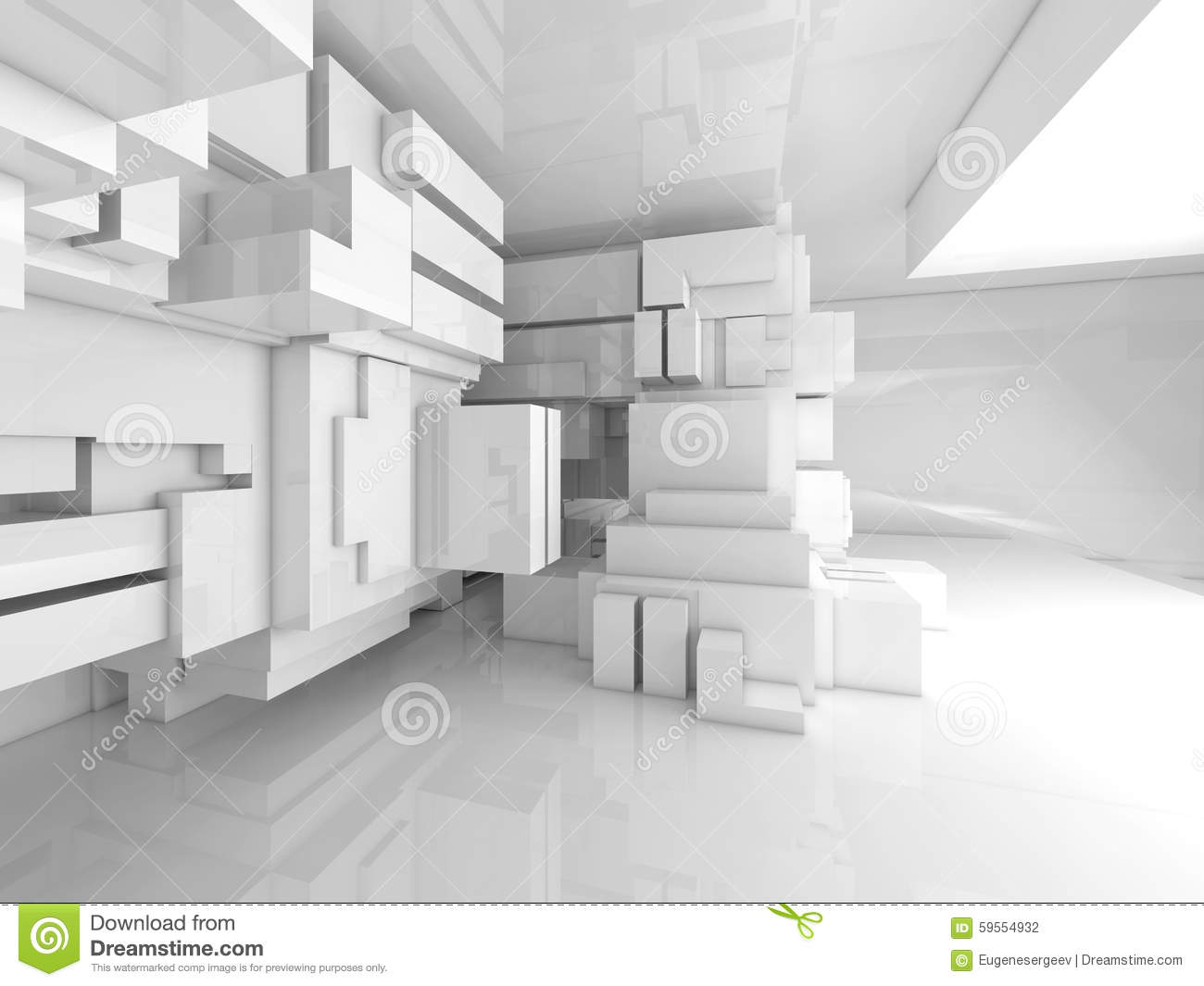 Abstract Empty White Room High Tech Interior 3d Stock