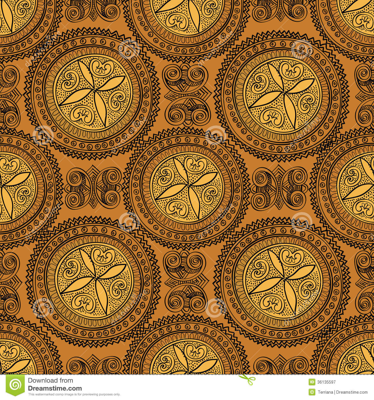 Abstract Ethnic Seamless Background. Floral Line Texture