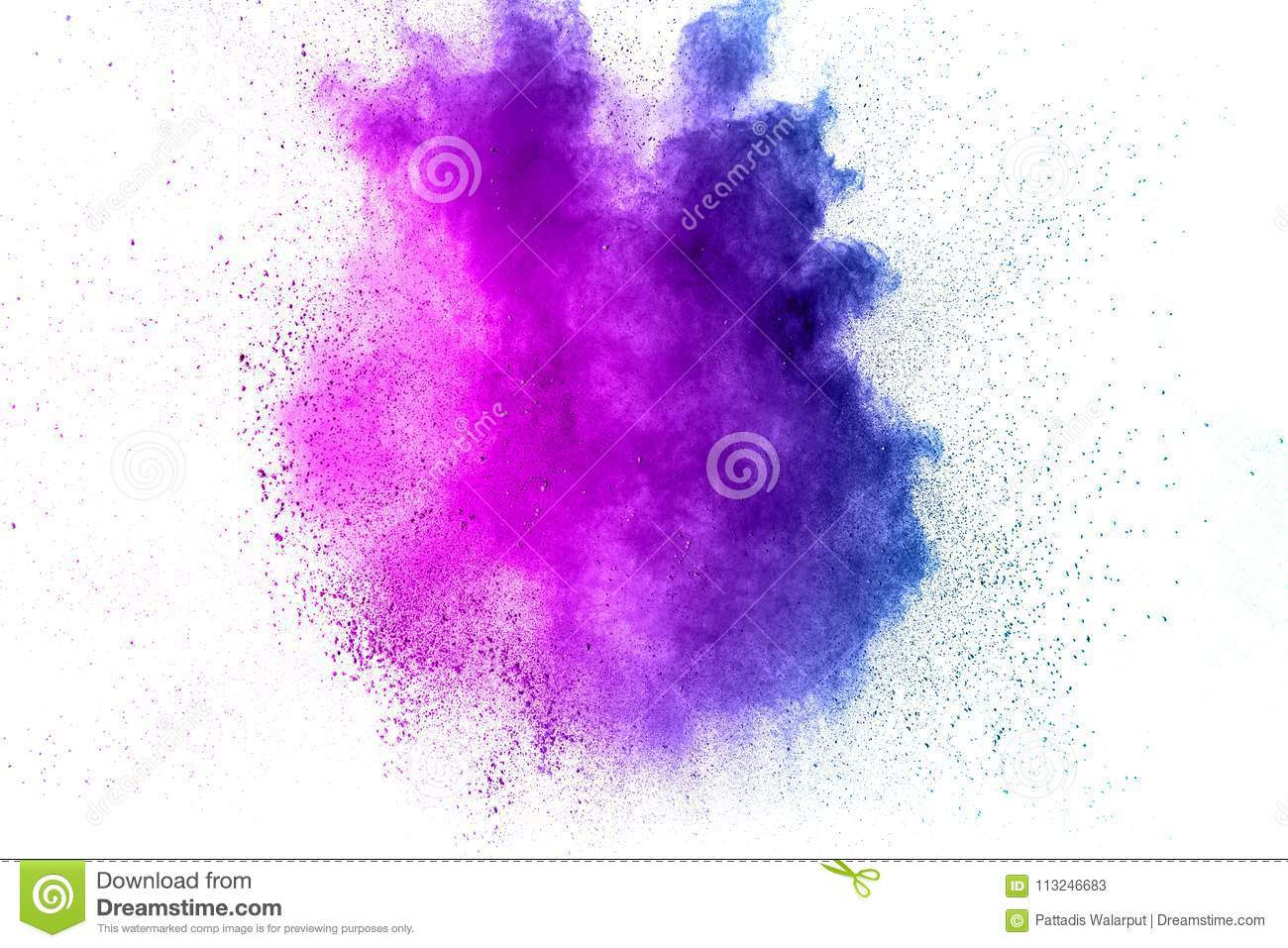 Abstract explosion of purple dust on white background.Abstract purple powder splatter on white background